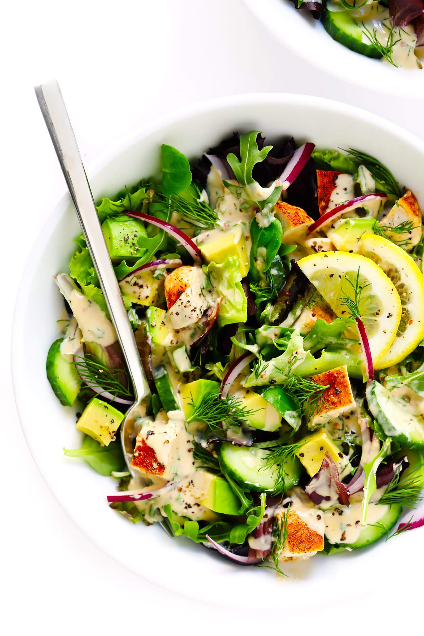 Chicken Avocado Green Salad with Tahini Ranch Dressing