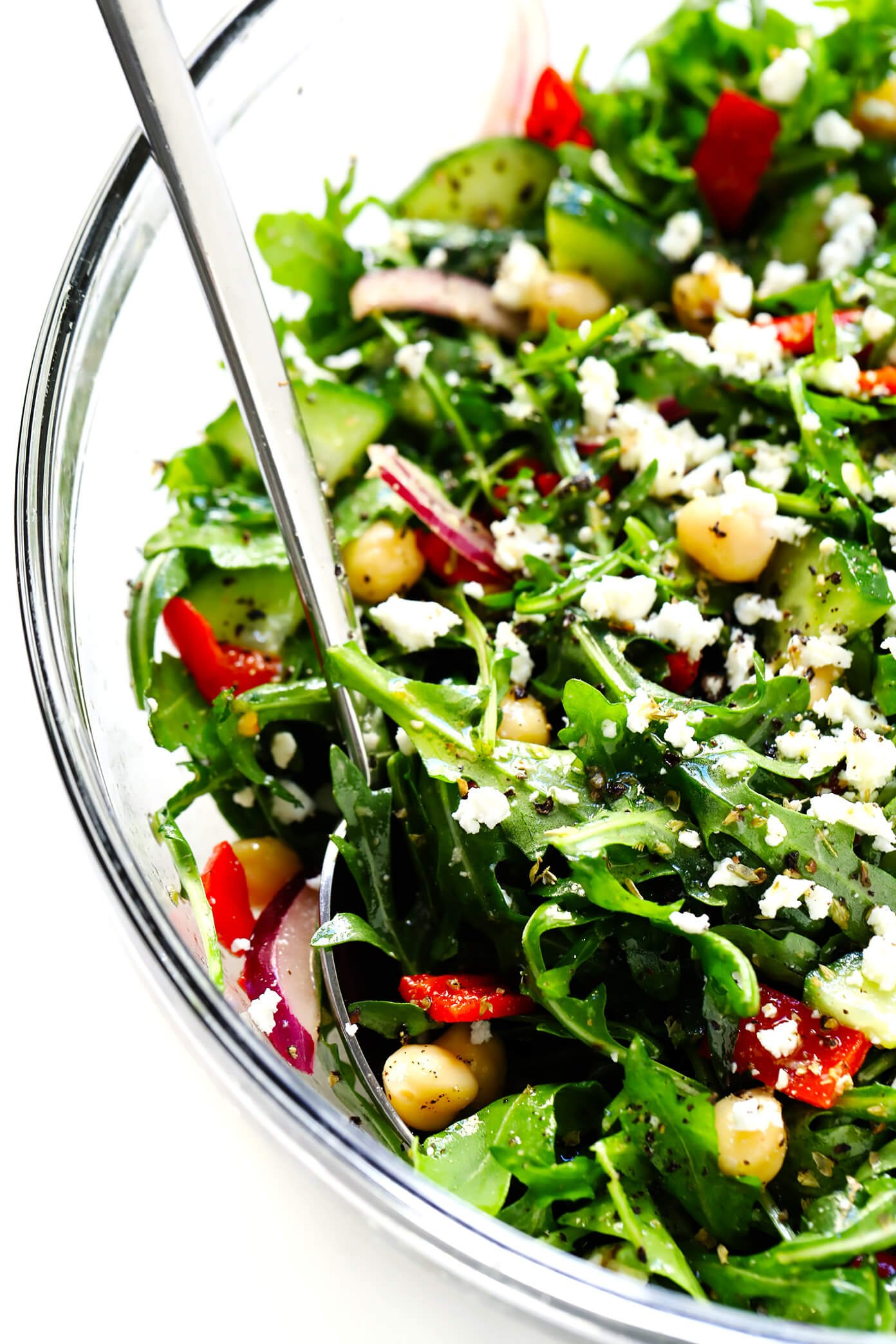 Greek Salad with Arugula and Chickpeas