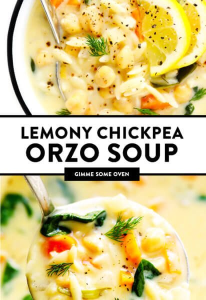 Lemony Chickpea Orzo Soup (Vegetarian)