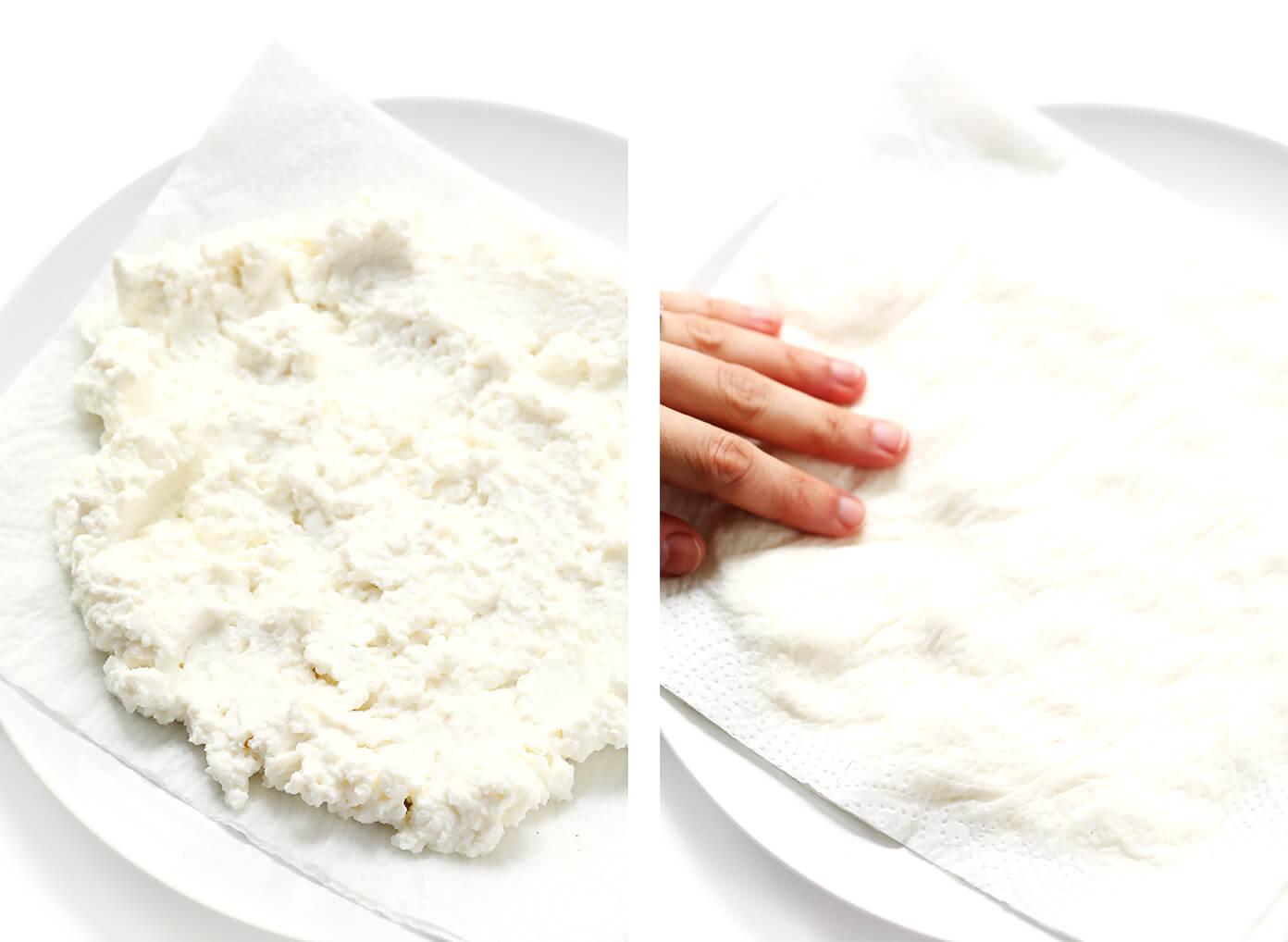 Cómo escurrir la ricota con toallas de papel