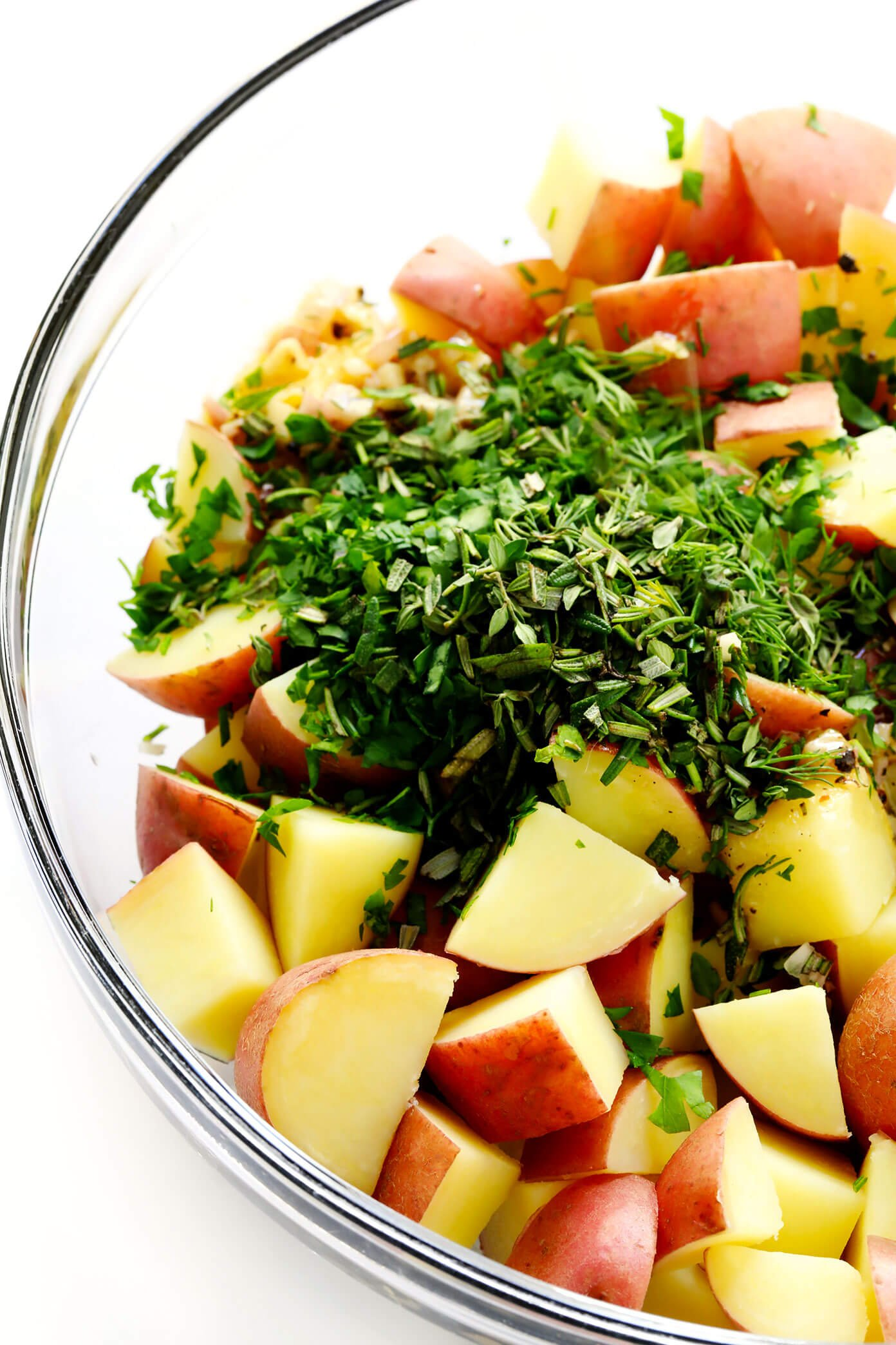 French Potato Salad Ingredients (Potatoes, Lemon Vinaigrette, Shallots and Fresh Herbs)