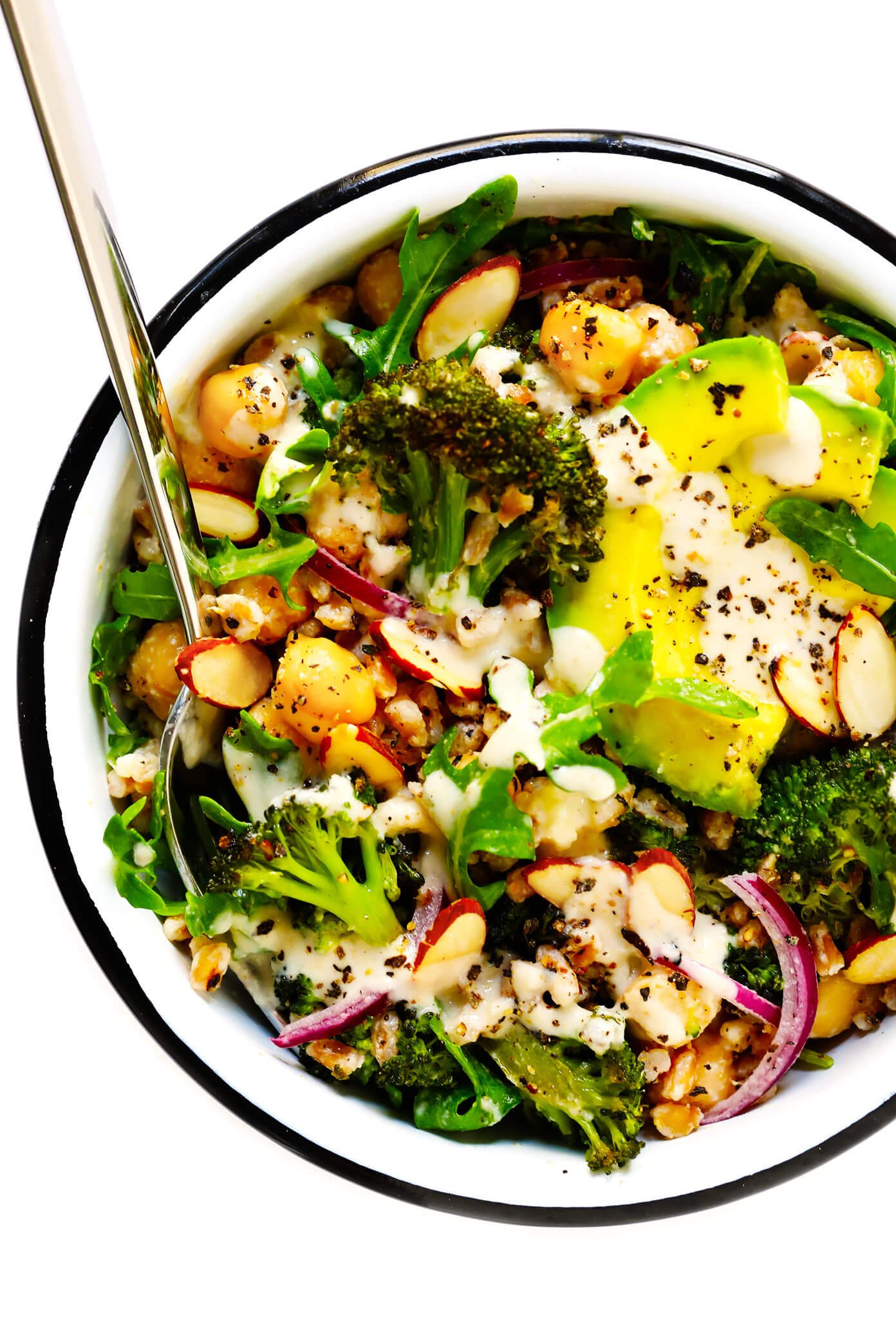 Roasted Broccoli, Chickpea and Farro Bowls