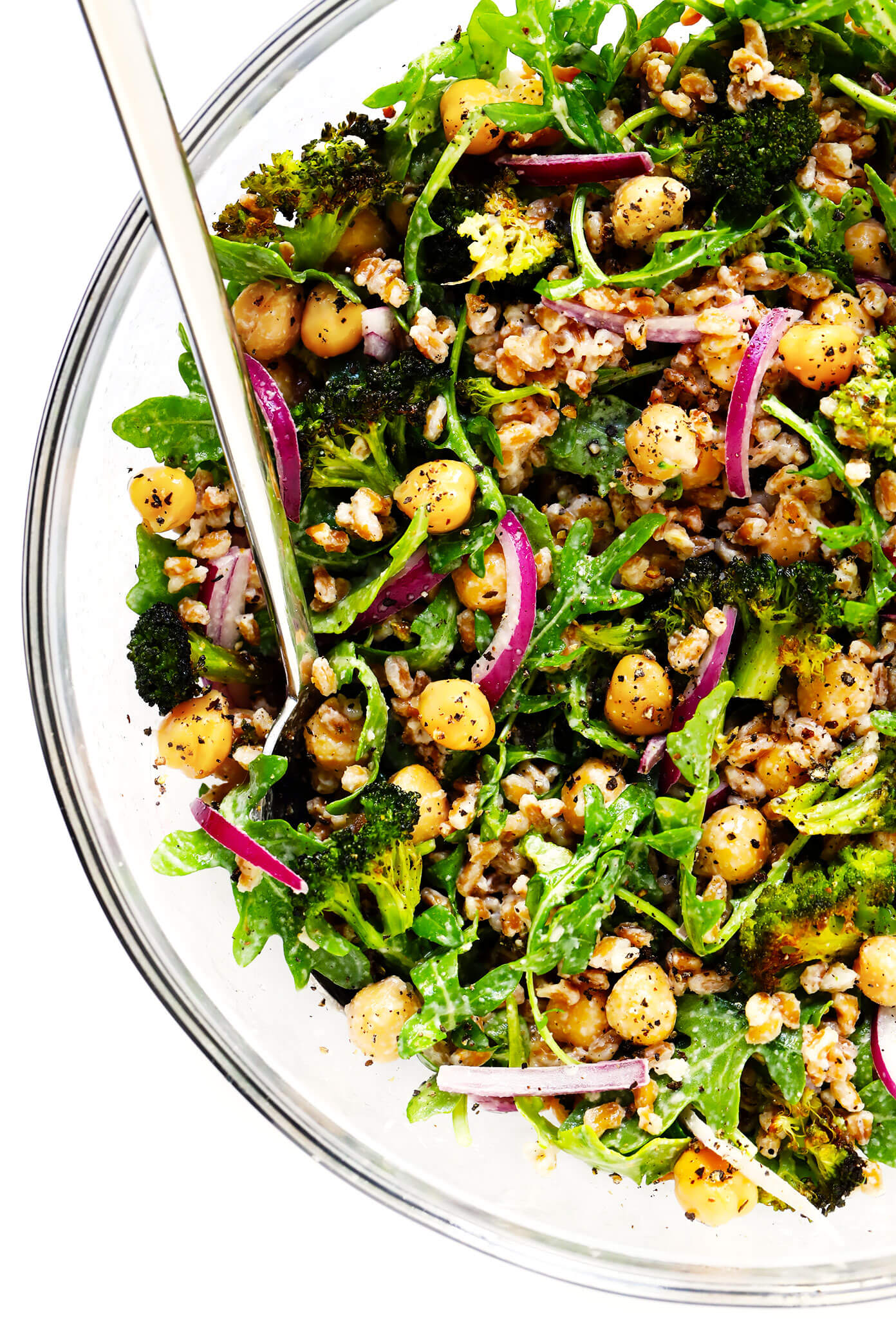 Roasted Broccoli and Farro Salad with Chickpeas