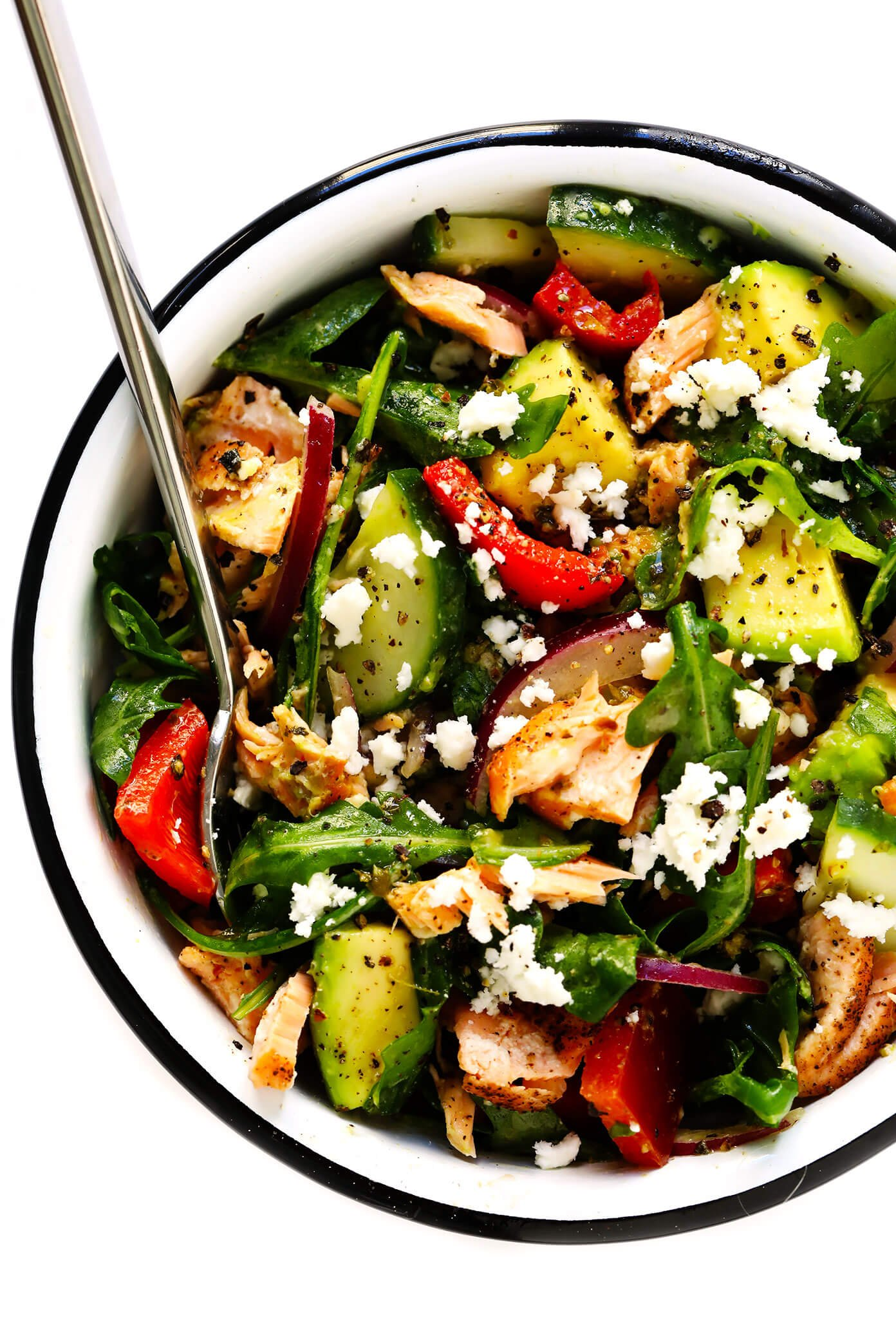 Greek Salad Salmon Bowls Recipe Gimme Some Oven