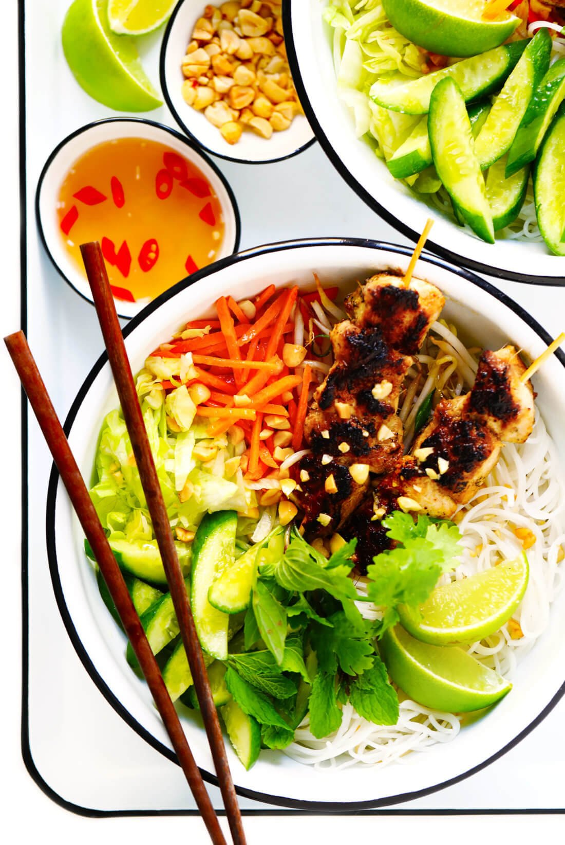Vietnamese Bun Recipe (Chicken Noodle Bowl with Nuoc Cham)