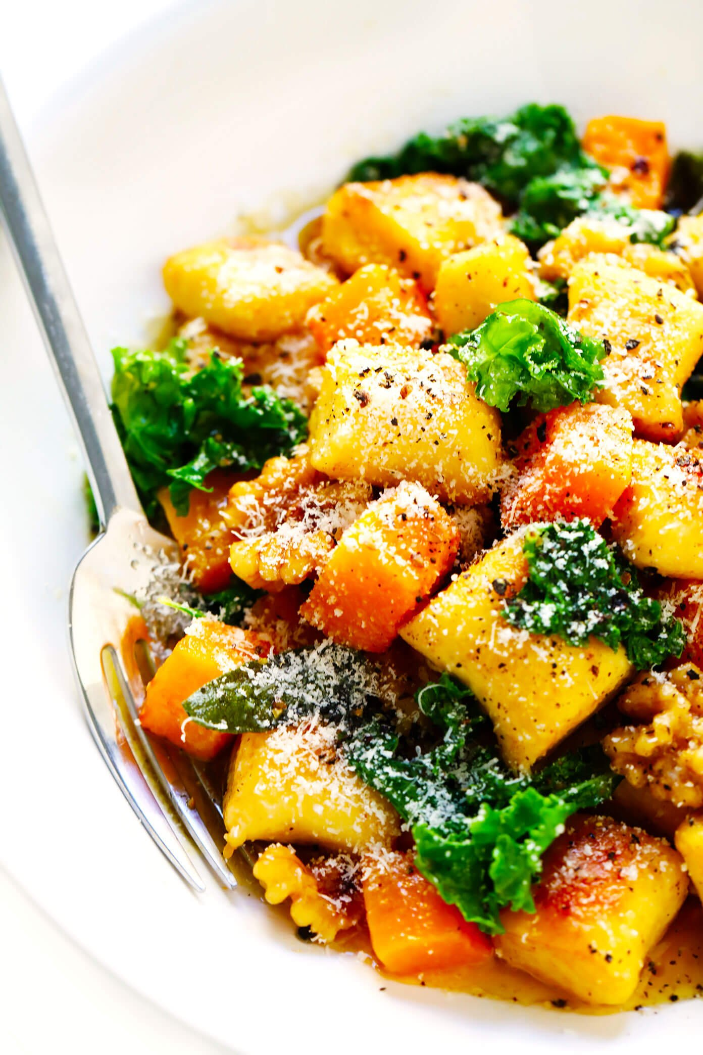 Toasted Gnocchi with Roasted Butternut Squash, Kale, Parmesan, Walnuts and Sage Brown Butter Sauce