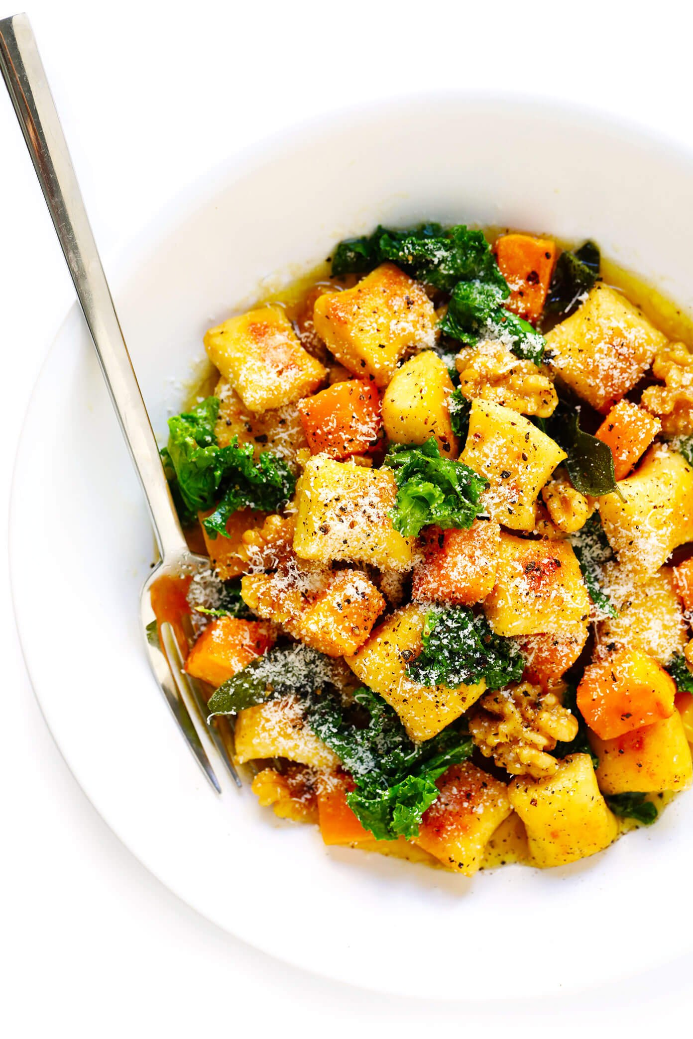Gnocchi with Roasted Butternut Squash, Kale and Sage Brown Butter Sauce