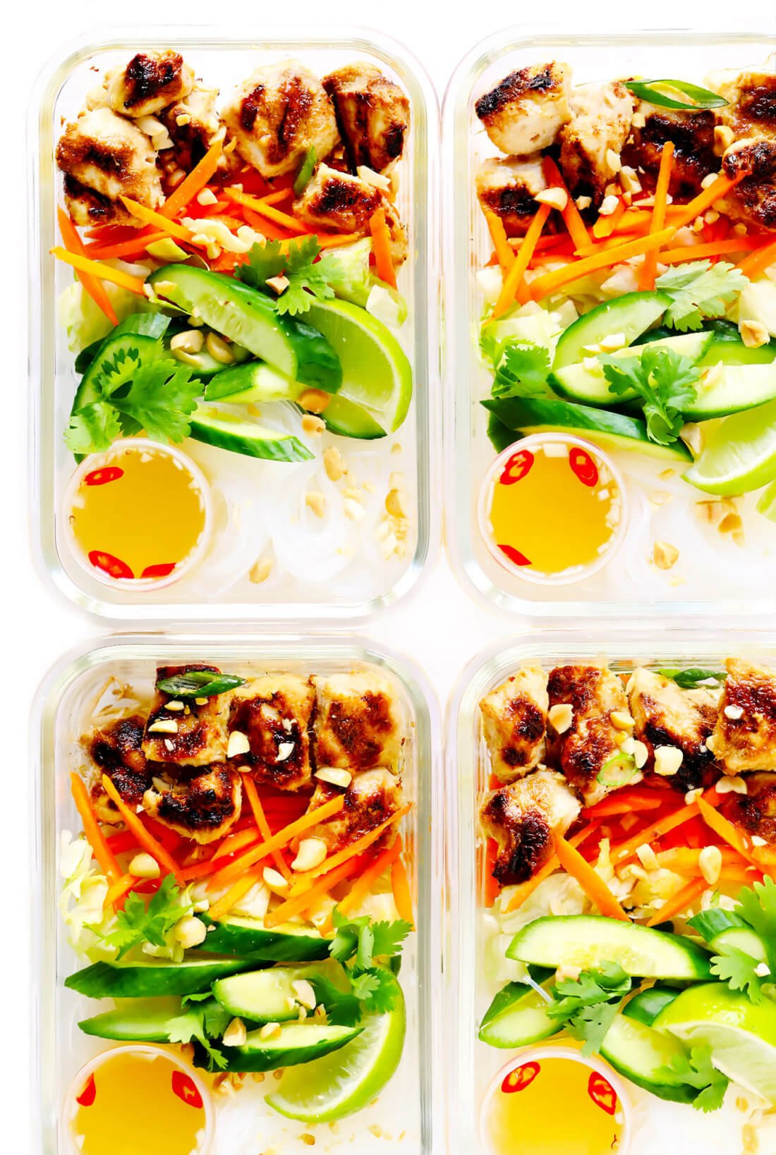 Vietnamese Chicken Noodle Bowls Meal Prep Containers