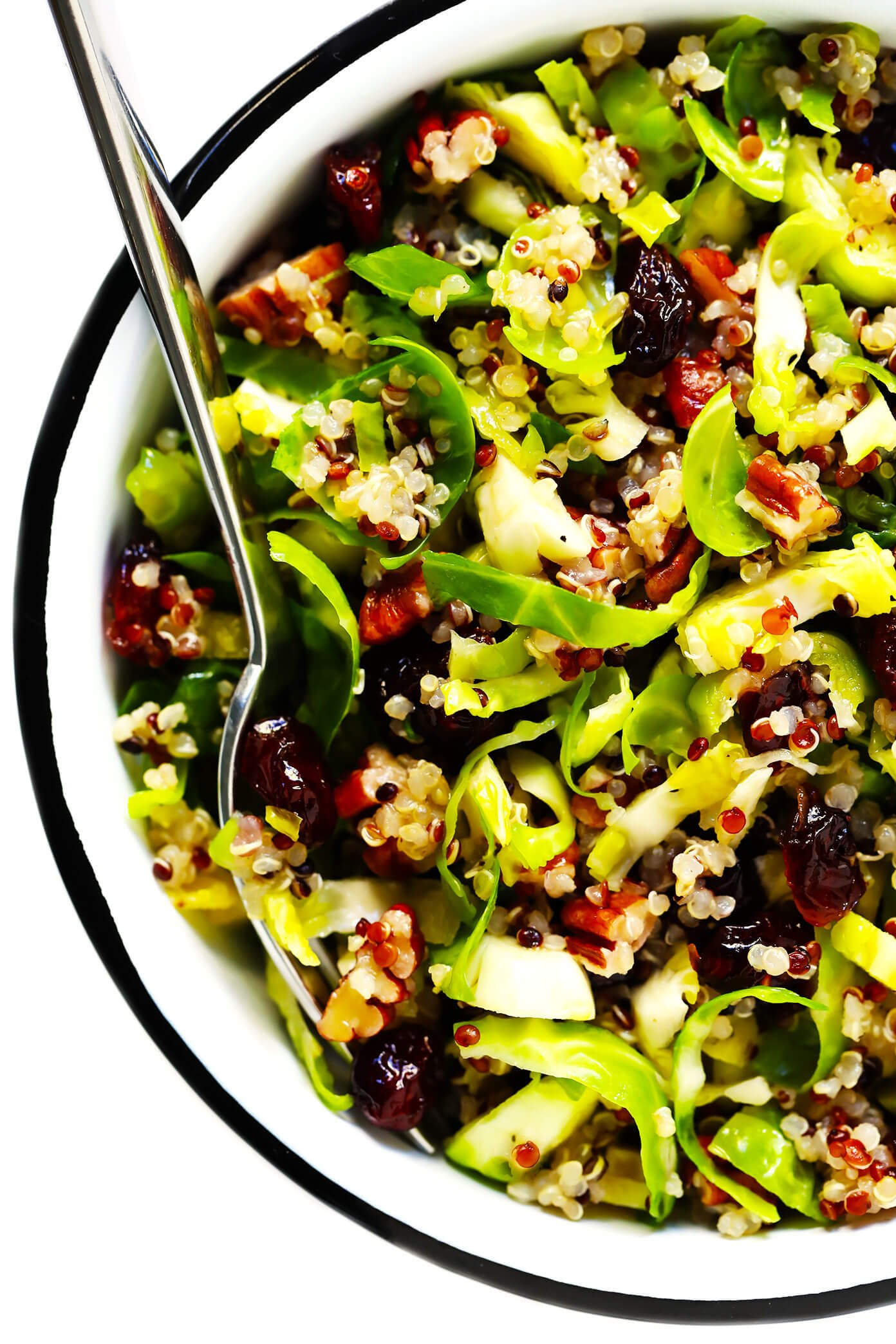 Brussels Sprouts Salad with Cranberry and Quinoa in Bowl