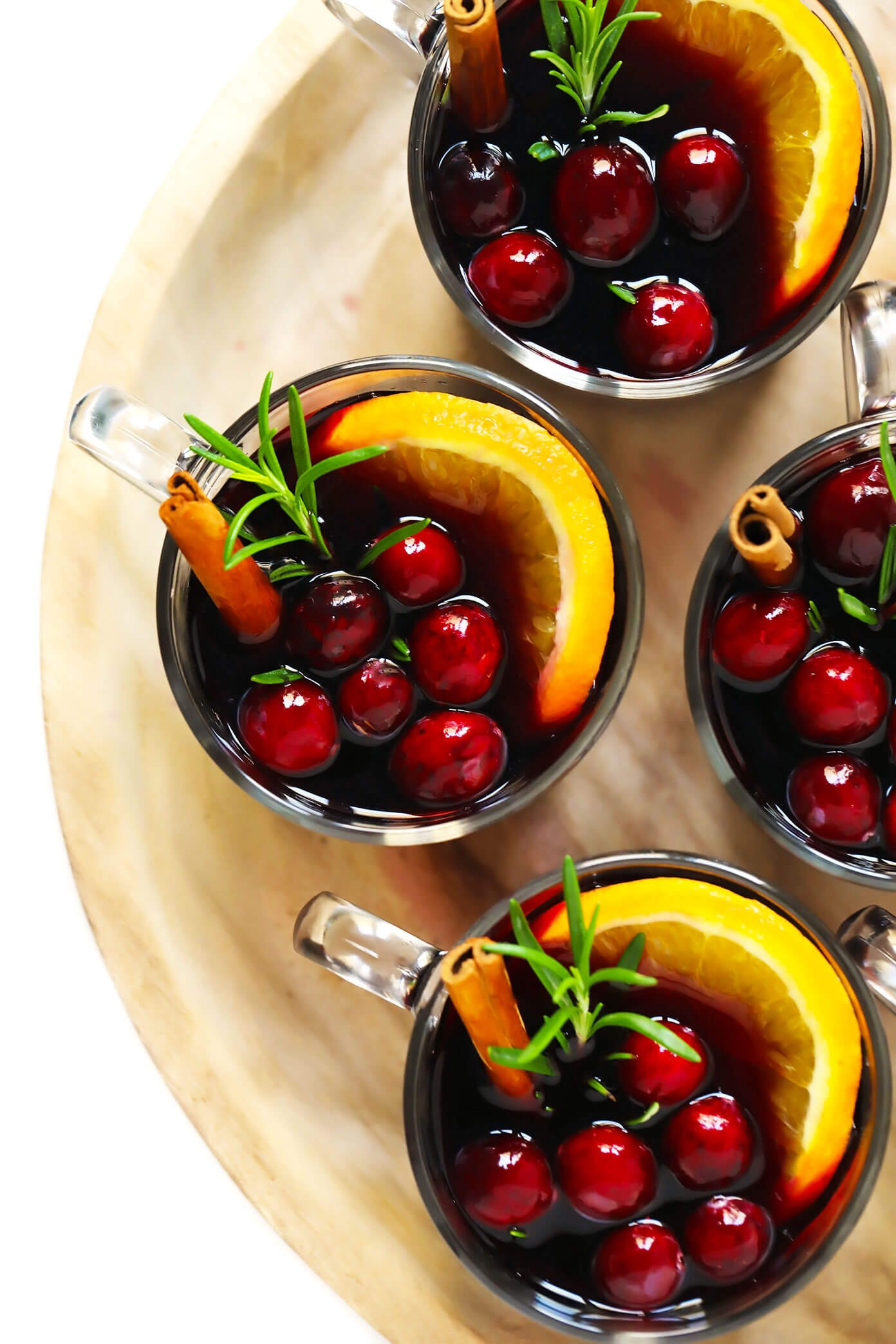 Mulled Wine with Cranberries, Oranges, Cinnamon and Rosemary