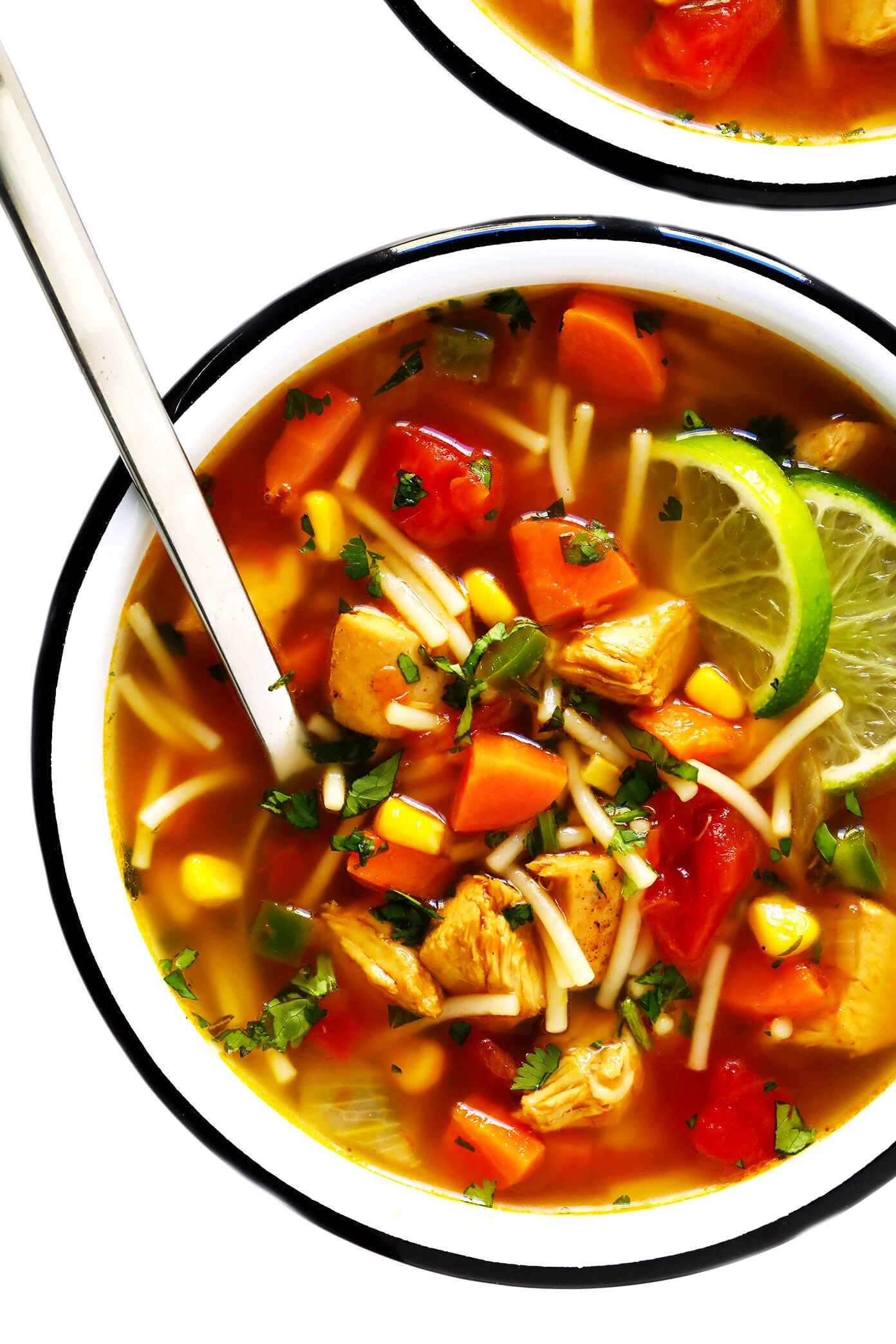 Mexican Chicken Noodle Soup with Limes