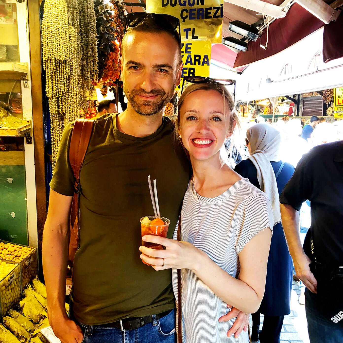 Pickle juice in Istanbul spice market food tour