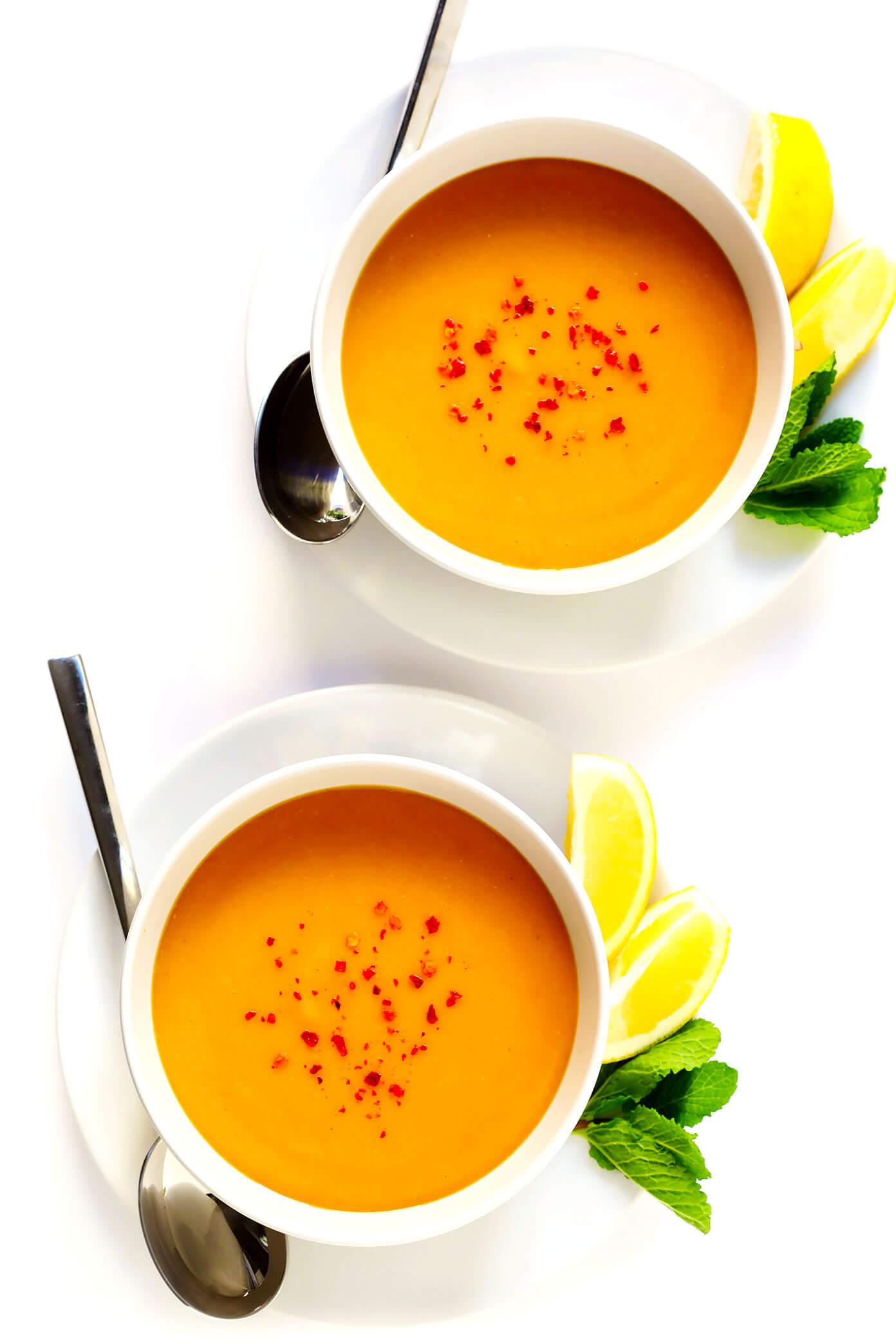 Turkish Lentil Soup with Lemon and Mint