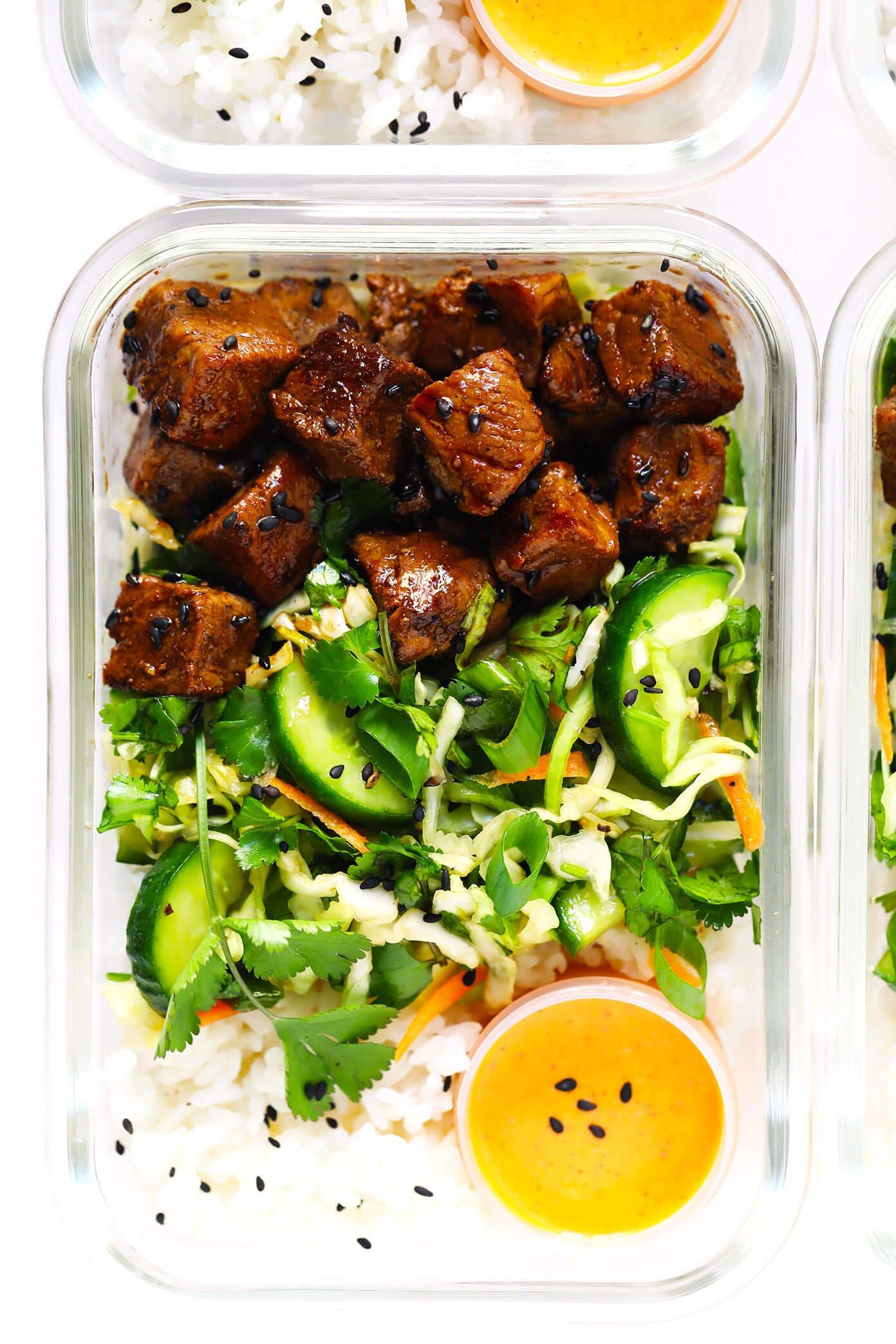 Korean Beef Bowls with Cucumber Salad