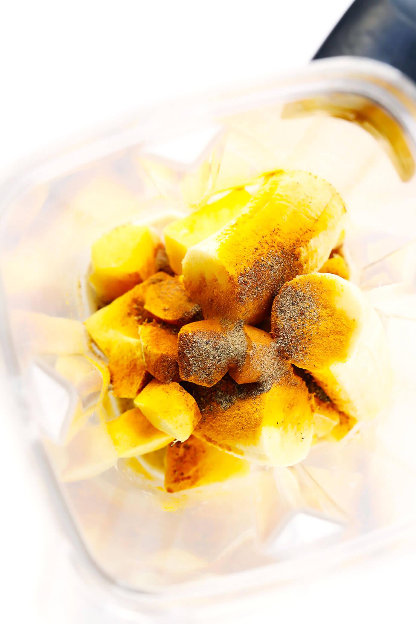Golden Milk Smoothie Ingredients | Mango (or Pineapple), Banana, Ginger, Milk, Turmeric, Black Pepper and Cinnamon