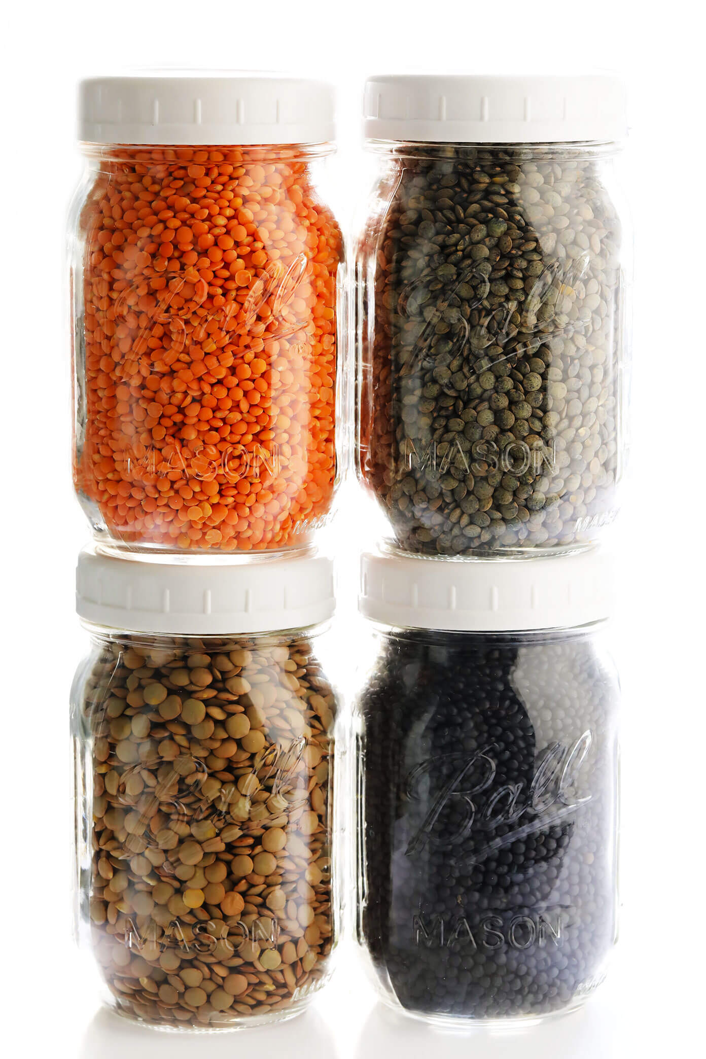 Different Types Of Lentils (Red Lentils, French Lentils, Brown Lentils, Black Lentils)