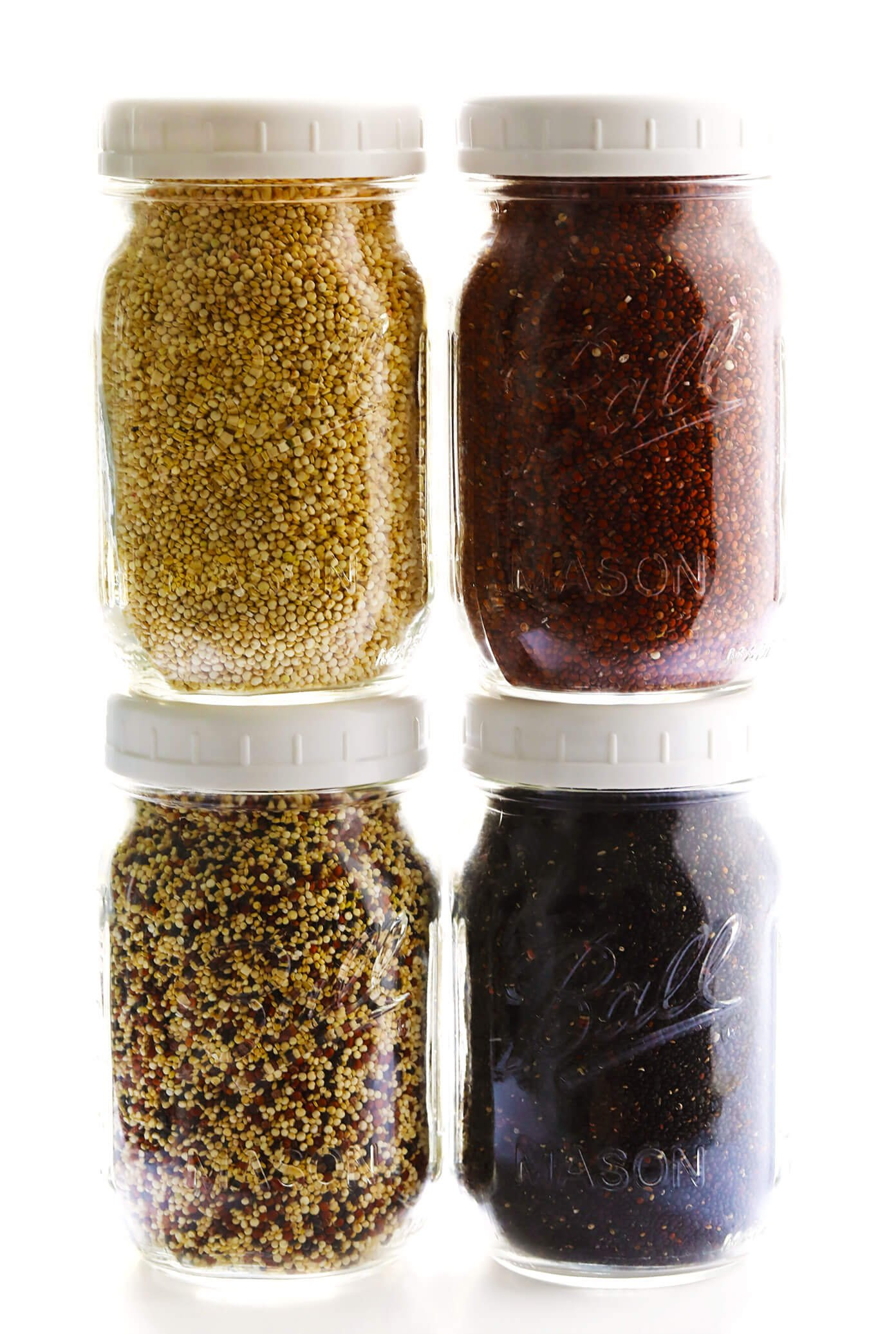 Different Colors Of Quinoa -- White (Pearl), Red, Black and Tri-Color Quinoa