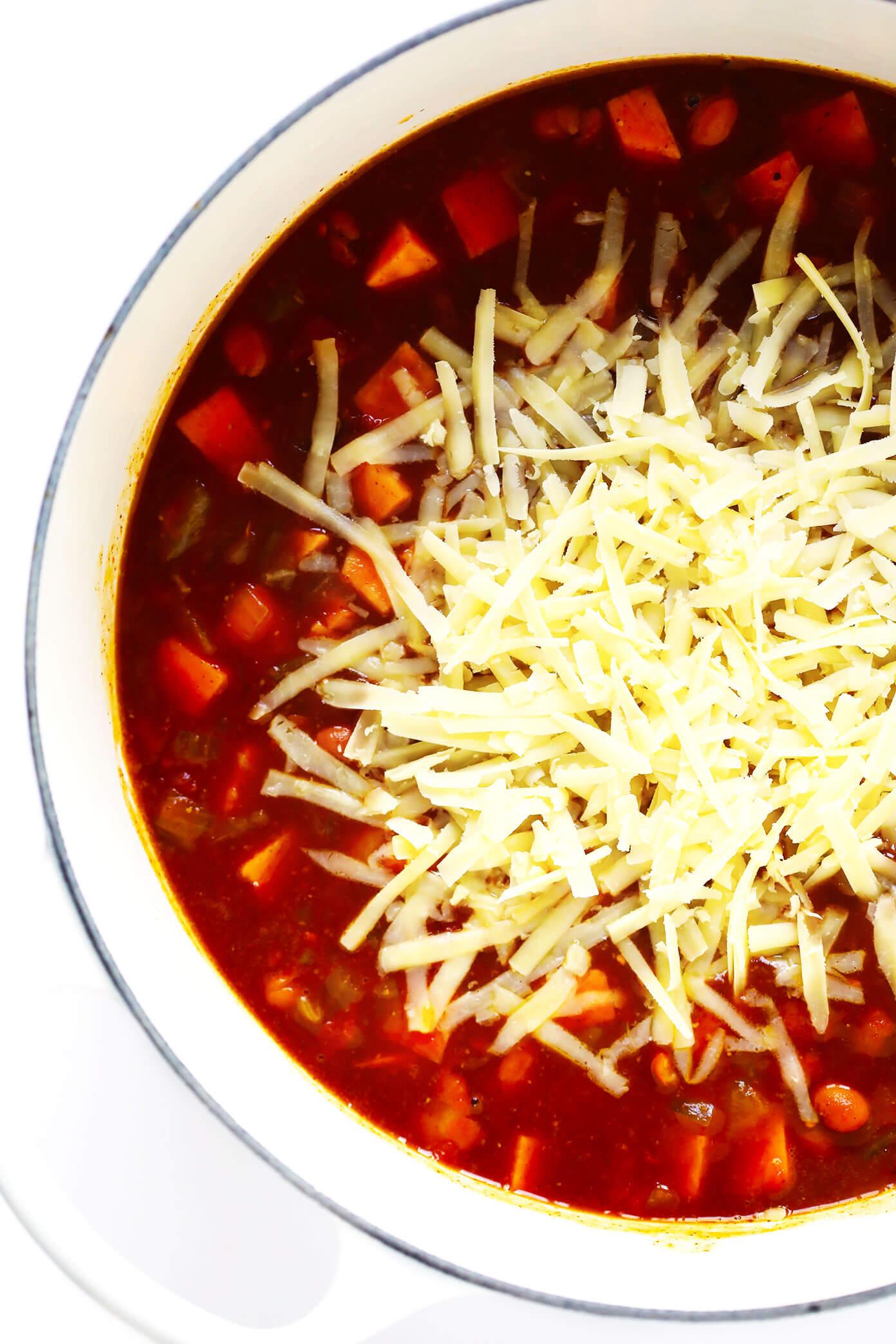 Cheesy Sweet Potato Enchilada Soup Recipe