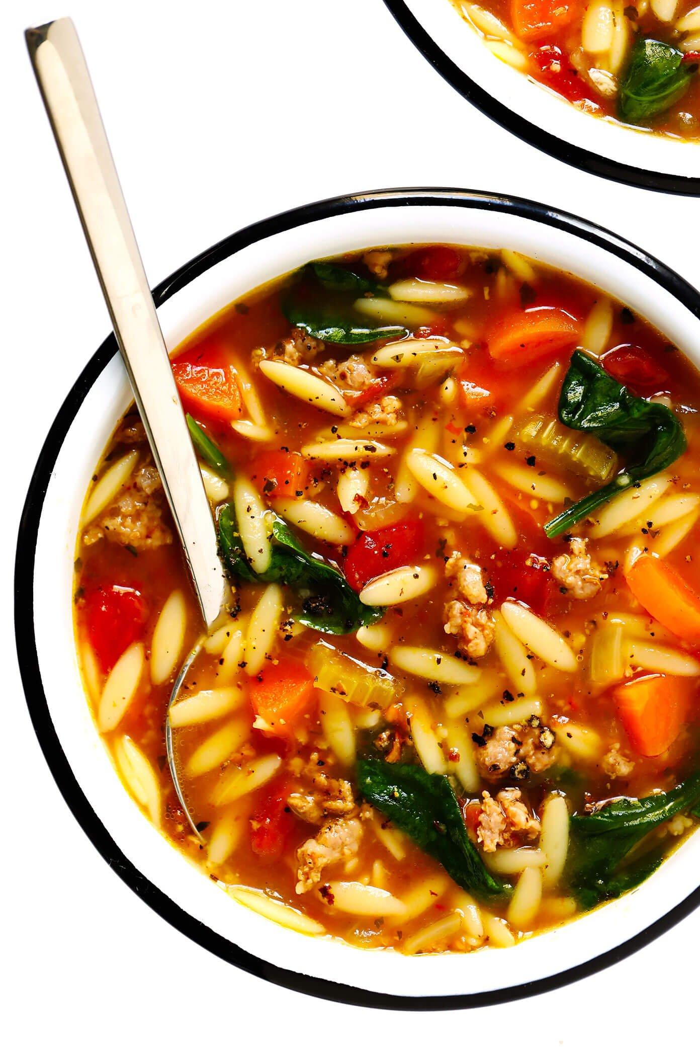 Italian Sausage, Orzo, Spinach and Tomato Soup Recipe
