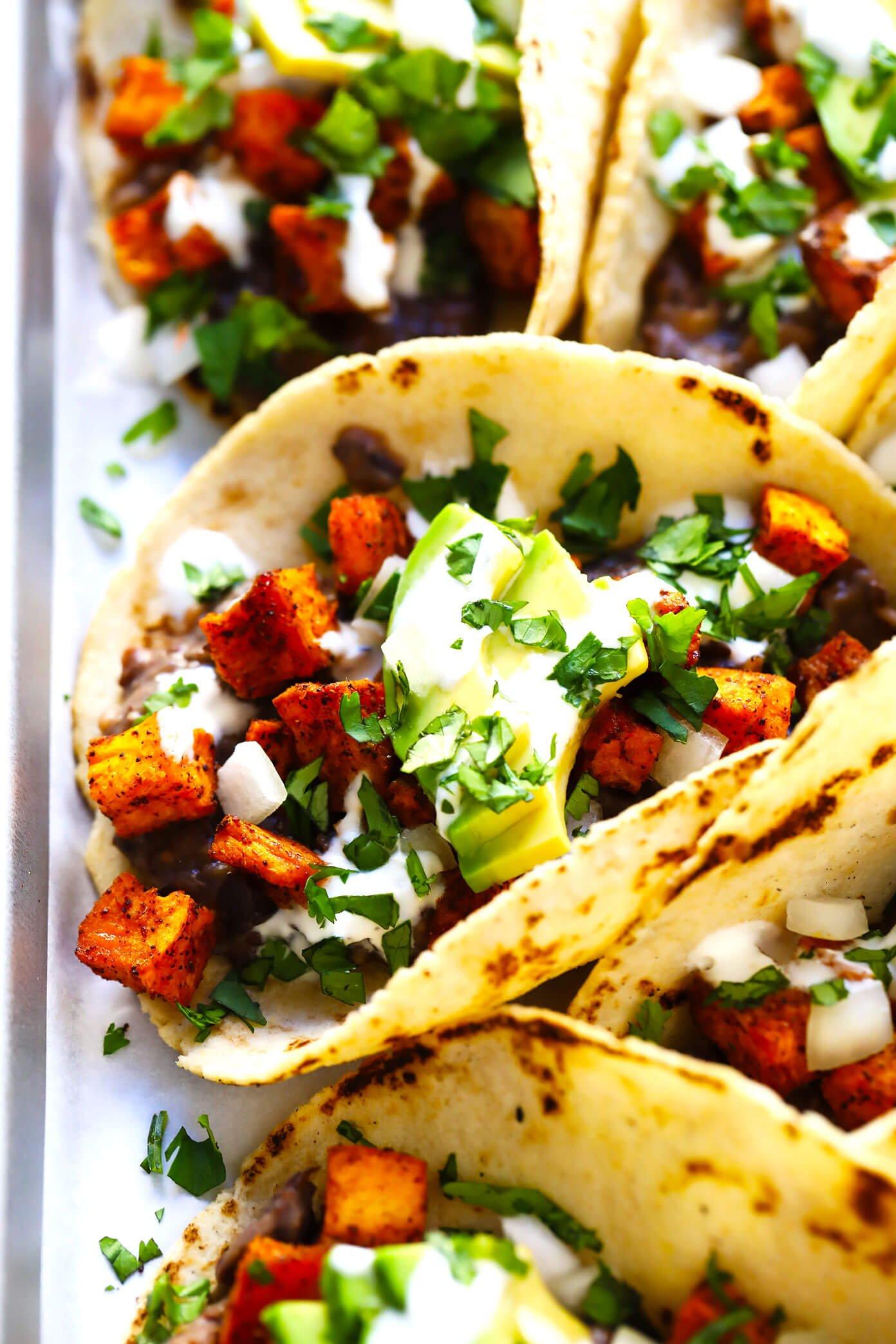 Roasted Sweet Potato and Black Bean Tacos Recipe