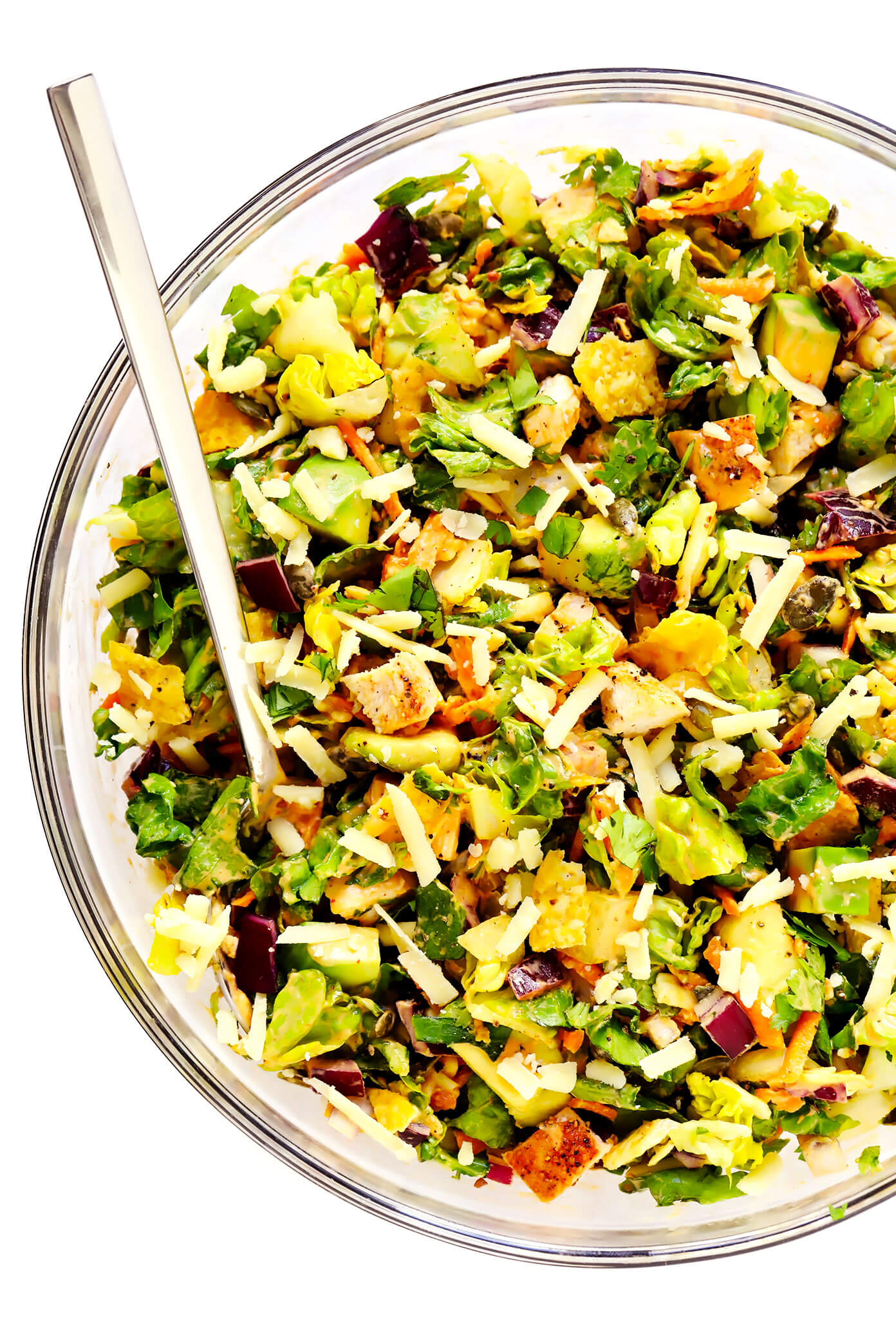 Chipotle Chicken Chopped Salad in Mixing Bowl