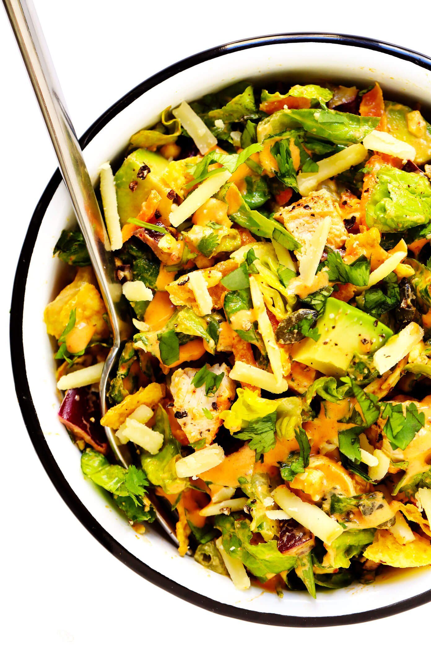 Chopped Salad with Chipotle Dressing Mixed In