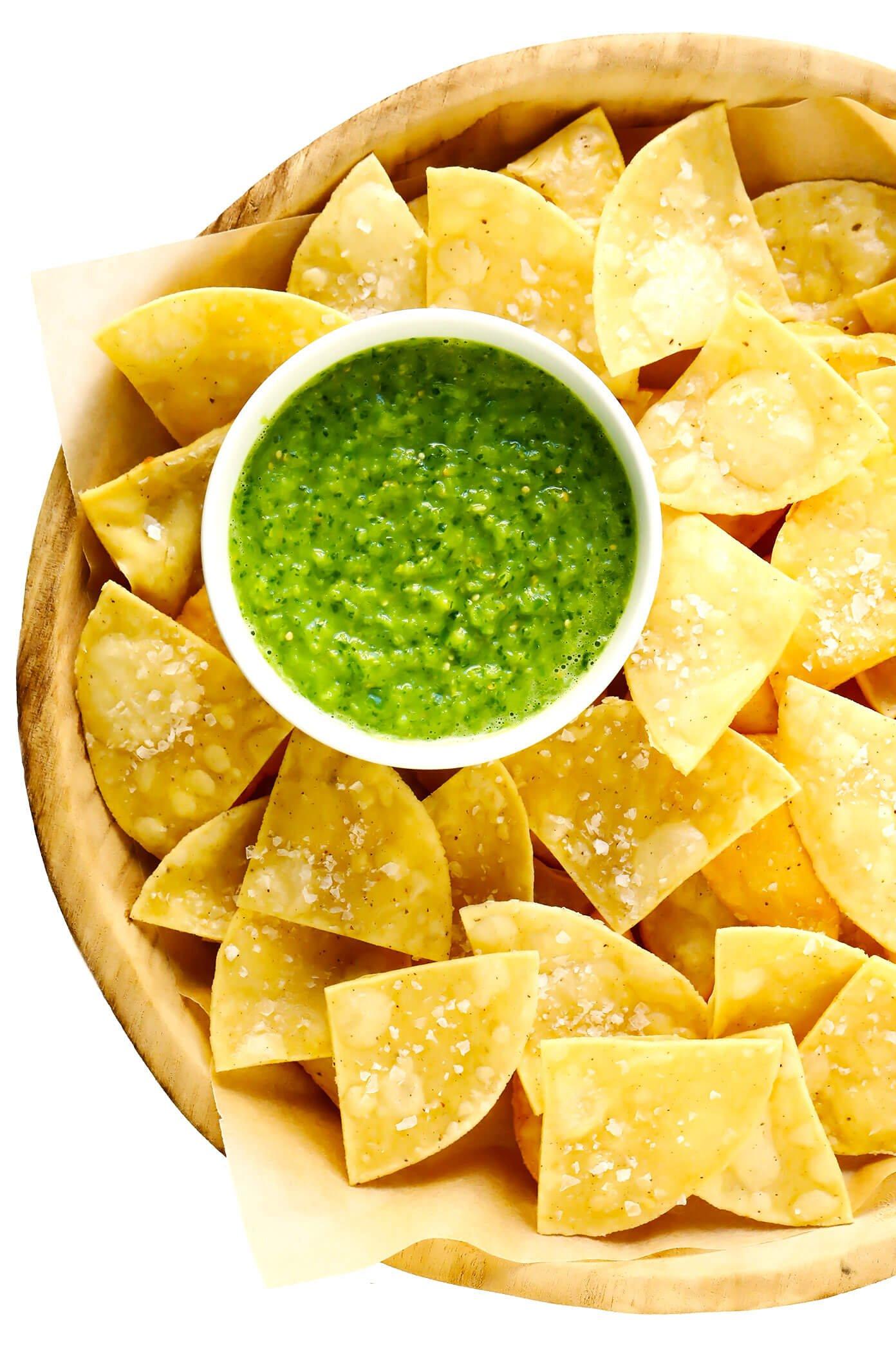 Fresh Salsa Verde Recipe with Homemade Tortilla Chips