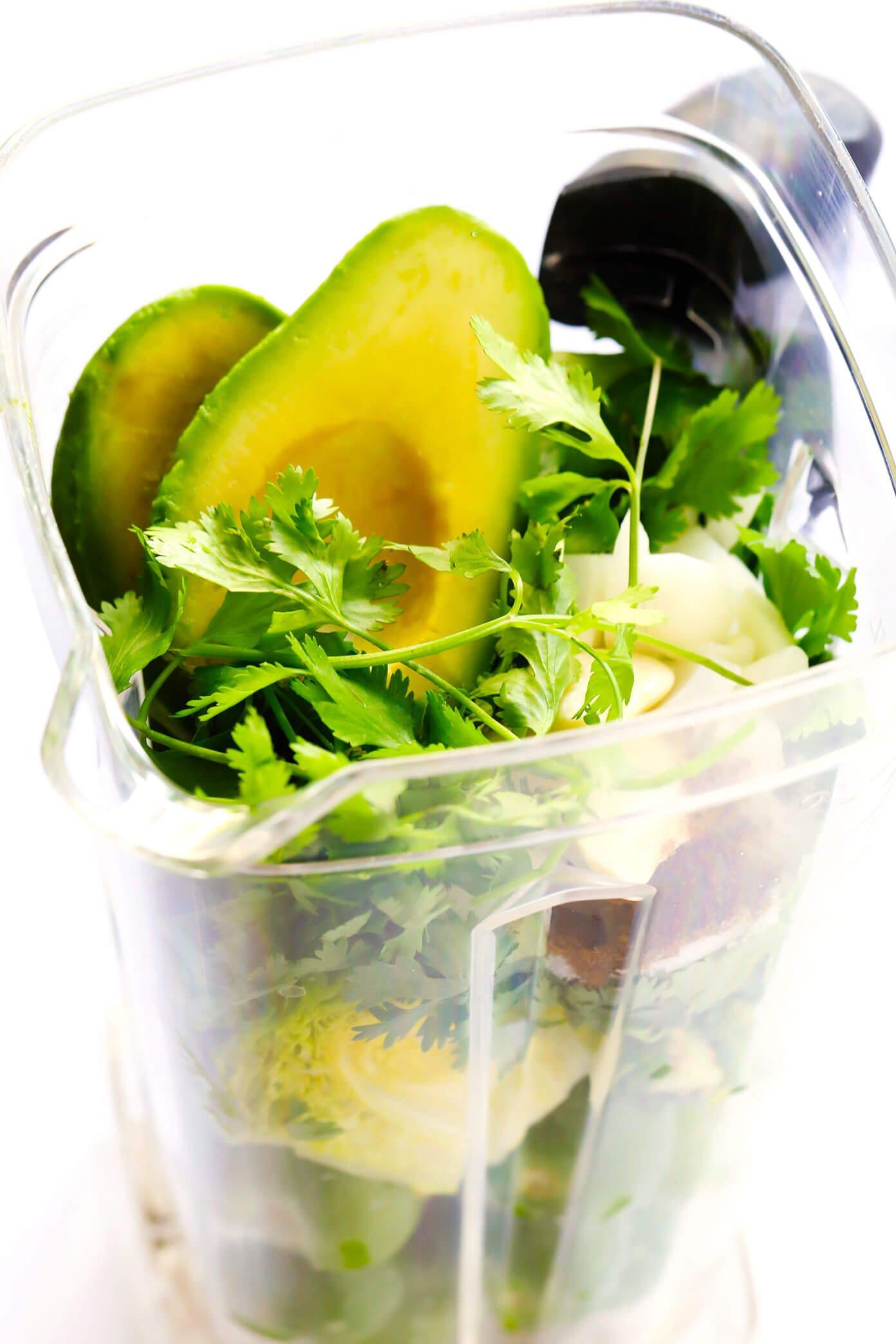 Ingredients for Salsa Verde Crudo in a blender