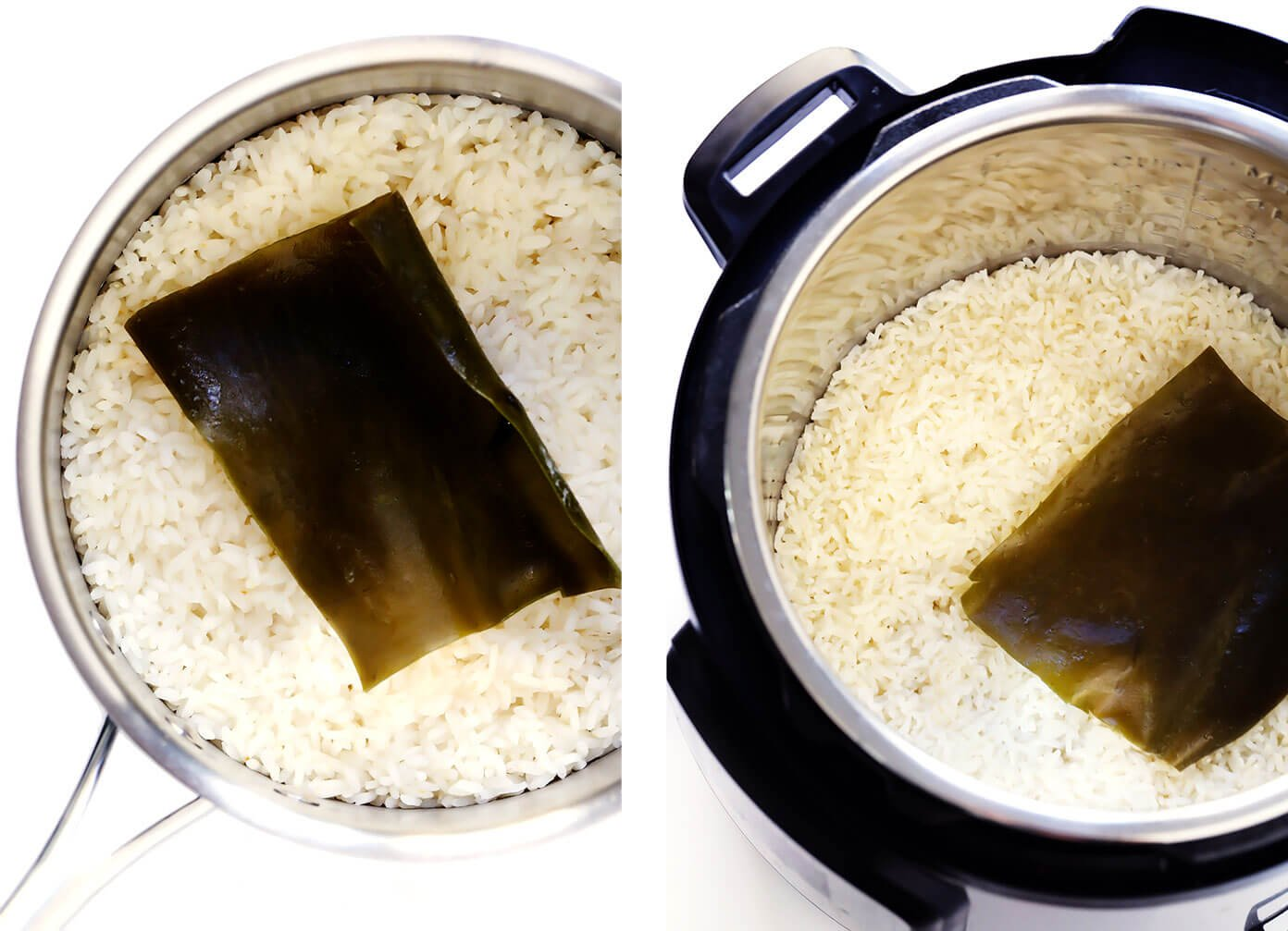 Sushi Rice with Kombu in Saucepan or Instant Pot