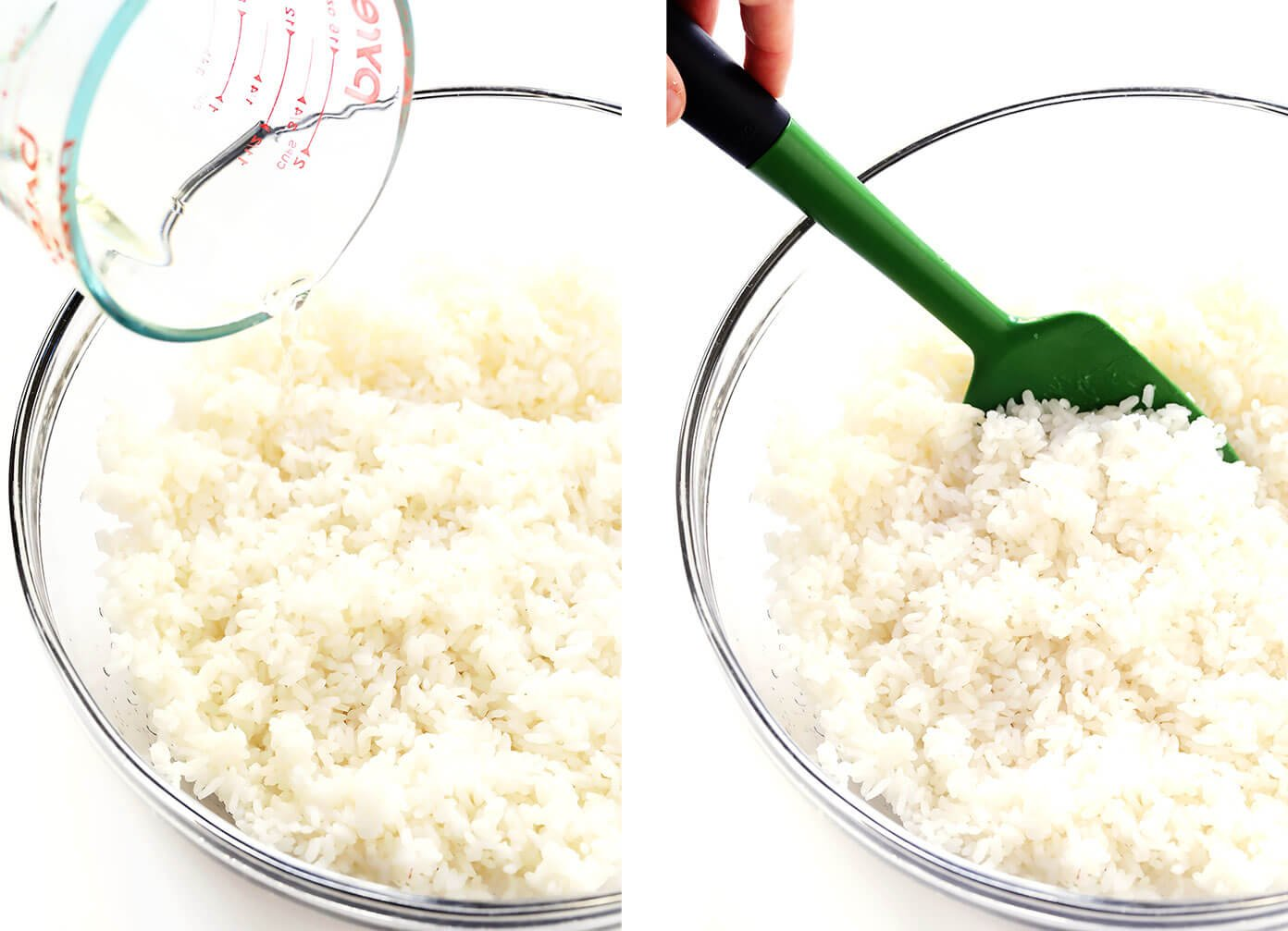 Mixing rice with sushi vinegar in bowl