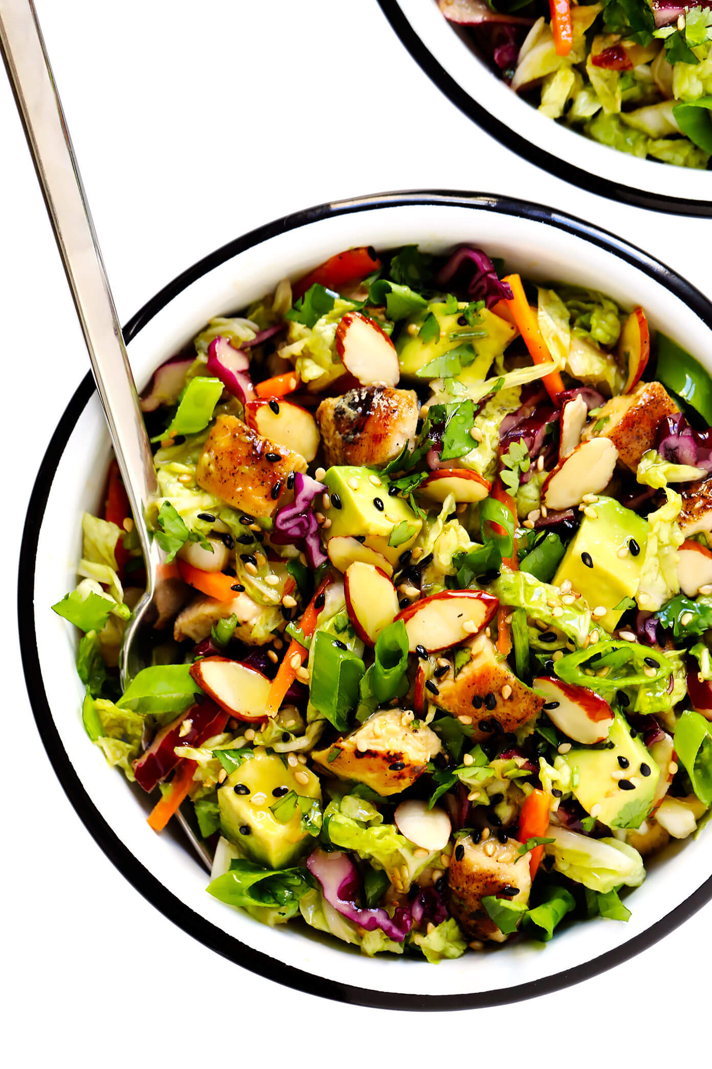 Sesame Chicken Salad Recipe with Almonds, Avocado and Cilantro