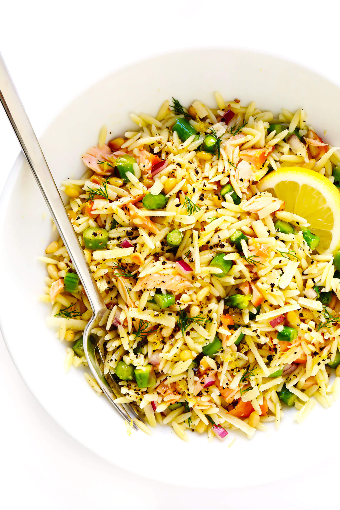 Orzo Salad Recipe with Smoked Salmon, Lemon, Asparagus and Dill