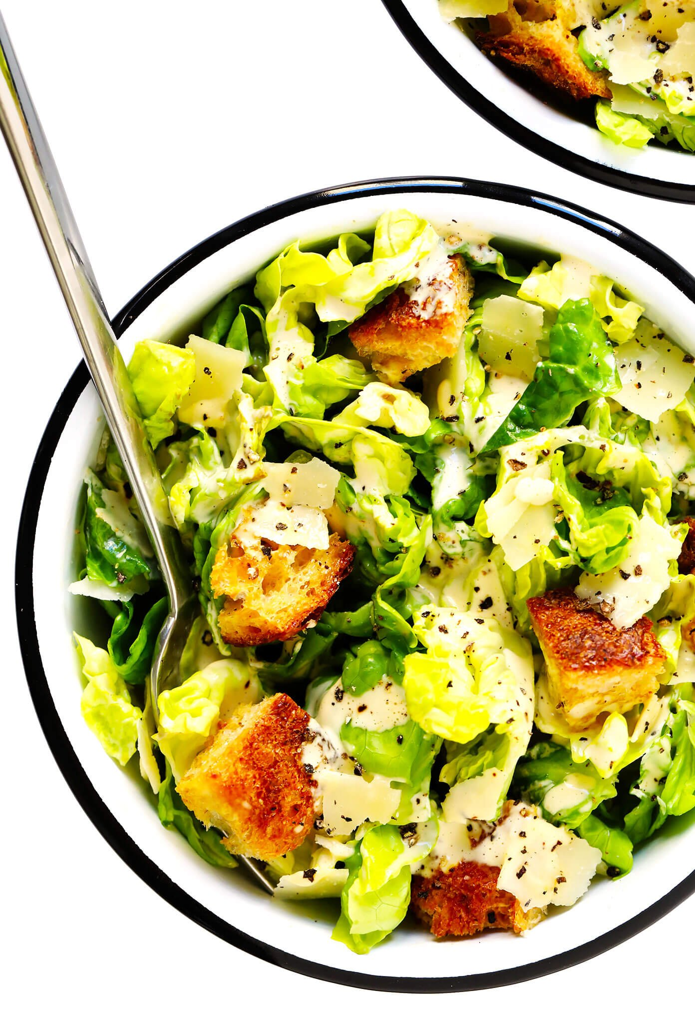 Caesar Salad in Bowls with Homemade Croutons