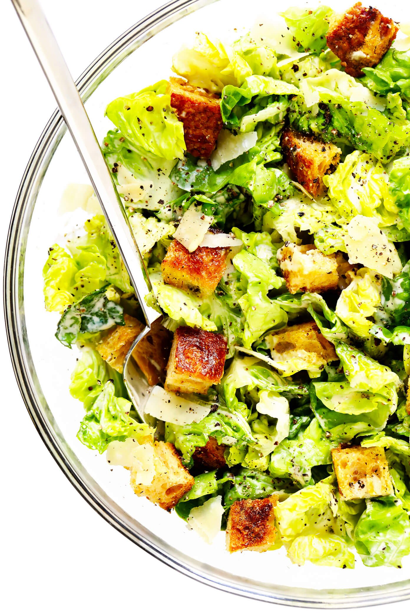 Caesar Salad in Bowl with Homemade Croutons