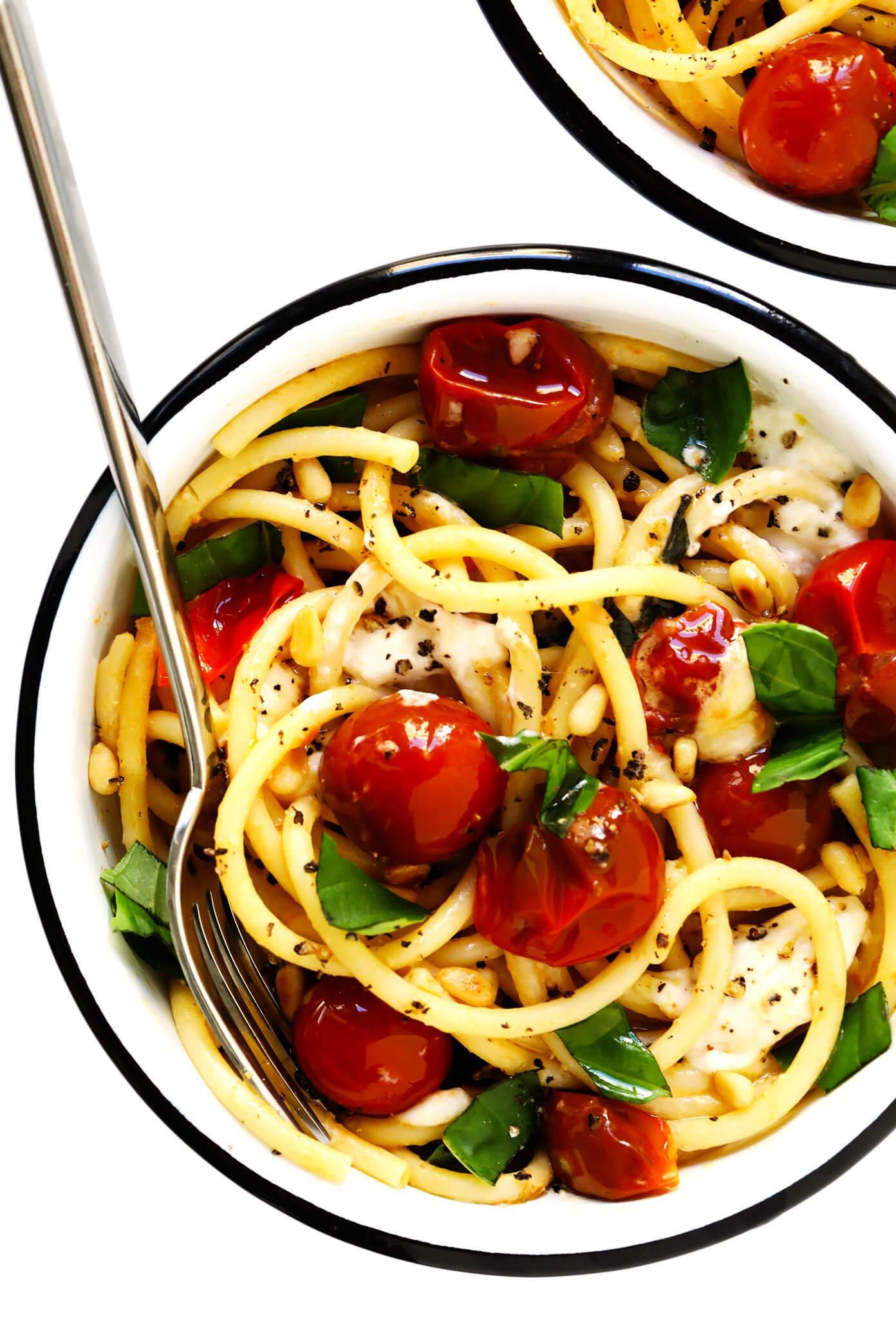 Pasta with Burst Cherry Tomatoes, Burrata and Basil