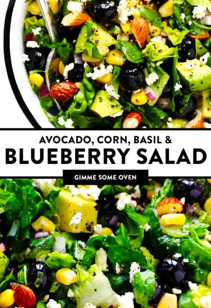 Avocado Corn Basil and Blueberry Salad