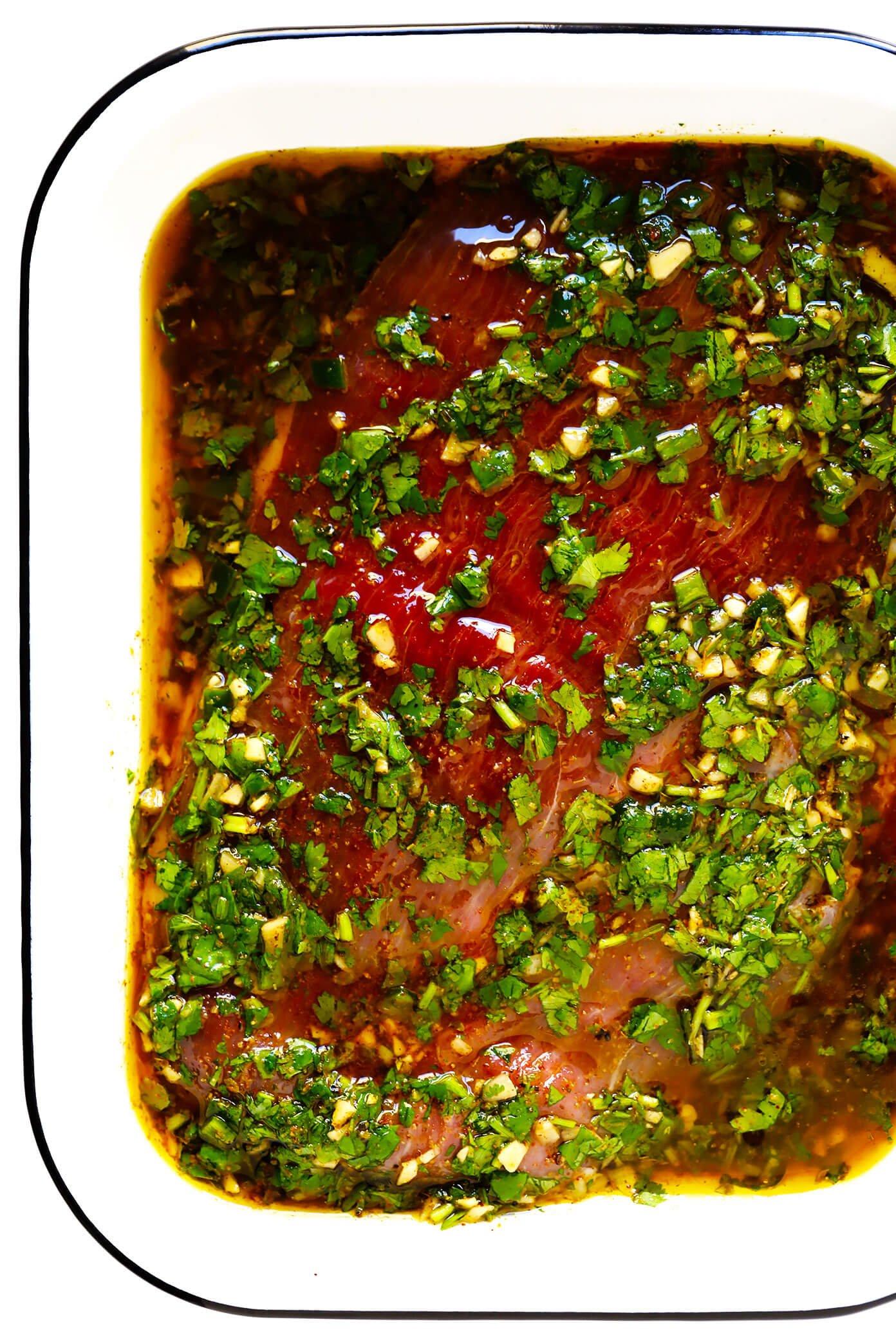 Bife de flanco em Marinada de Carne Asada
