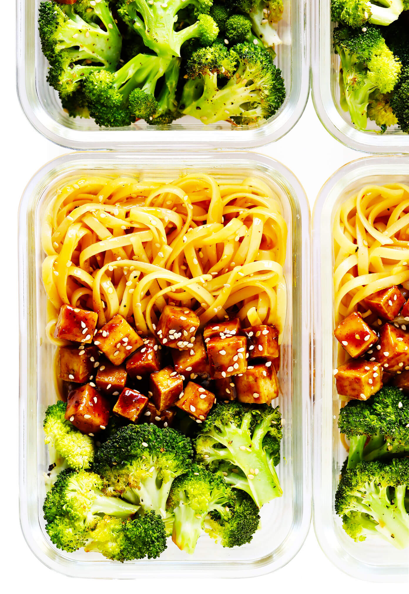 Five Spice Tofu Sesame Noodle Bowls with Roasted Broccoli in Meal Prep Containers