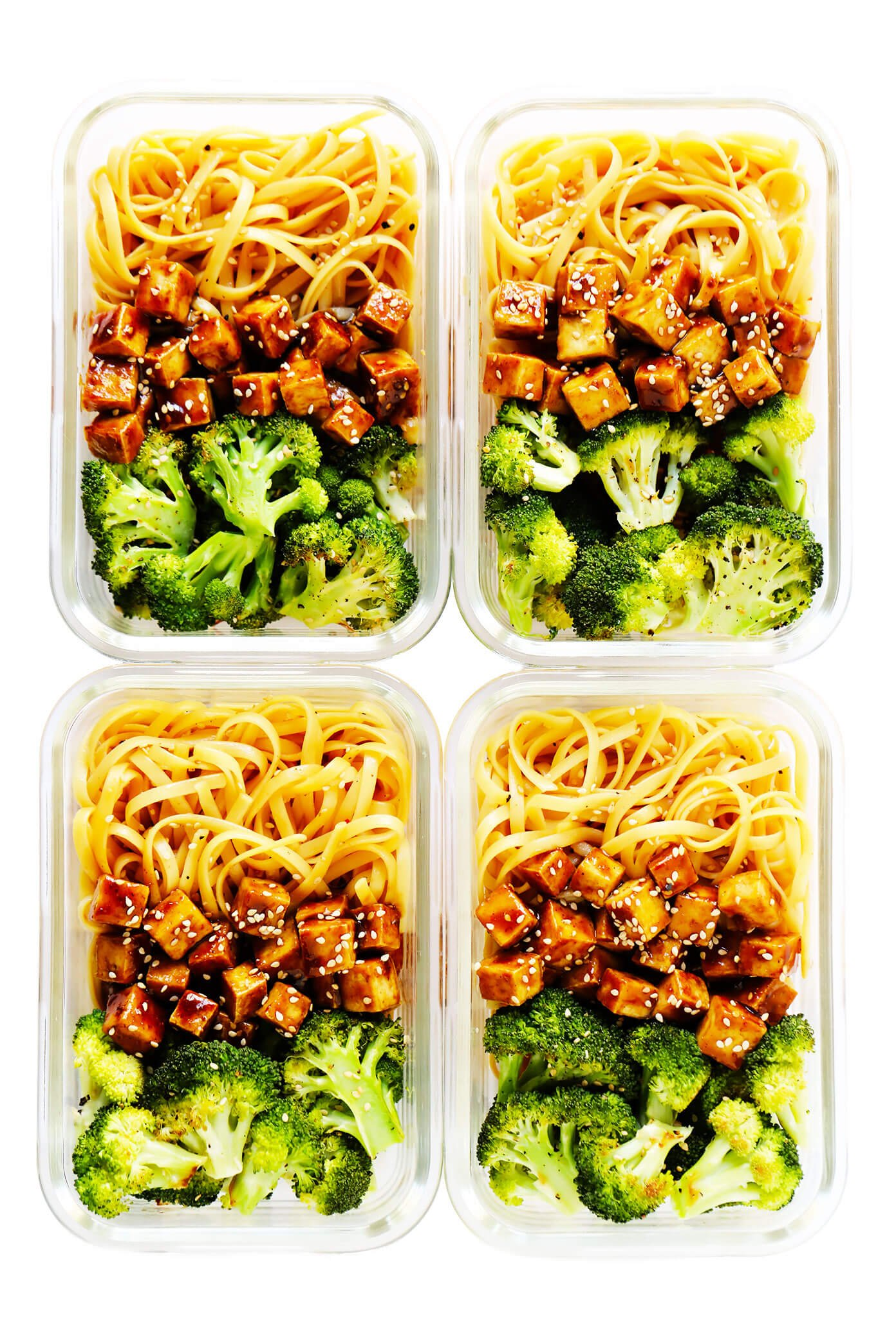 Crispy Tofu Sesame Noodle Bowls in Meal Prep Containers