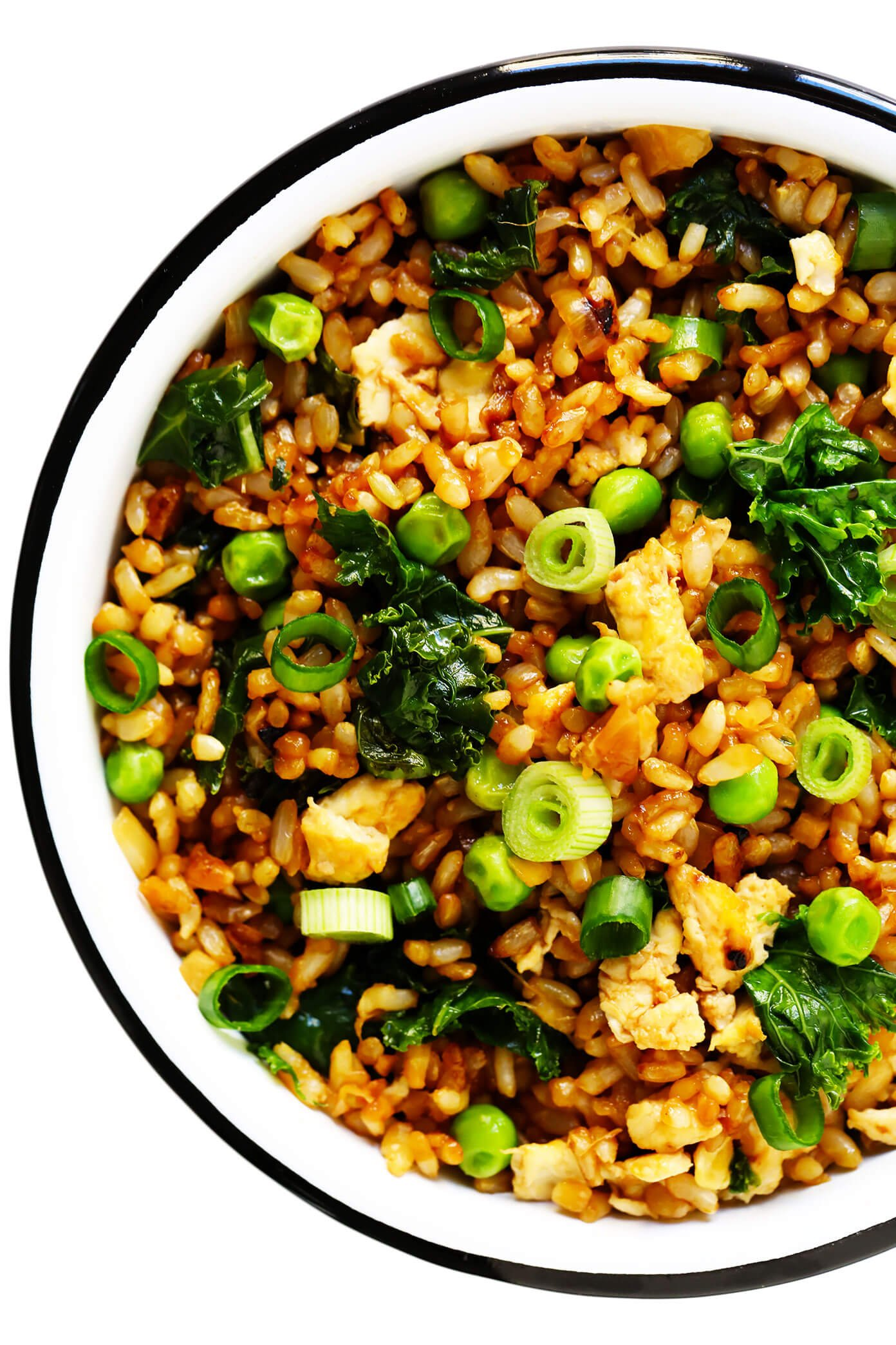 Ginger Kale Fried Rice In Bowl