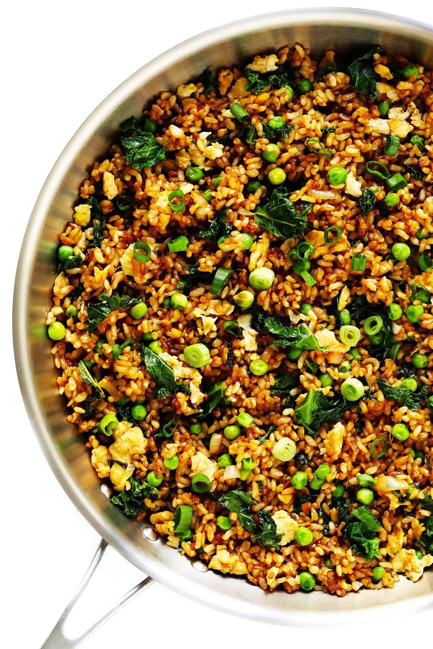 Ginger Kale Fried Brown Rice in Skillet