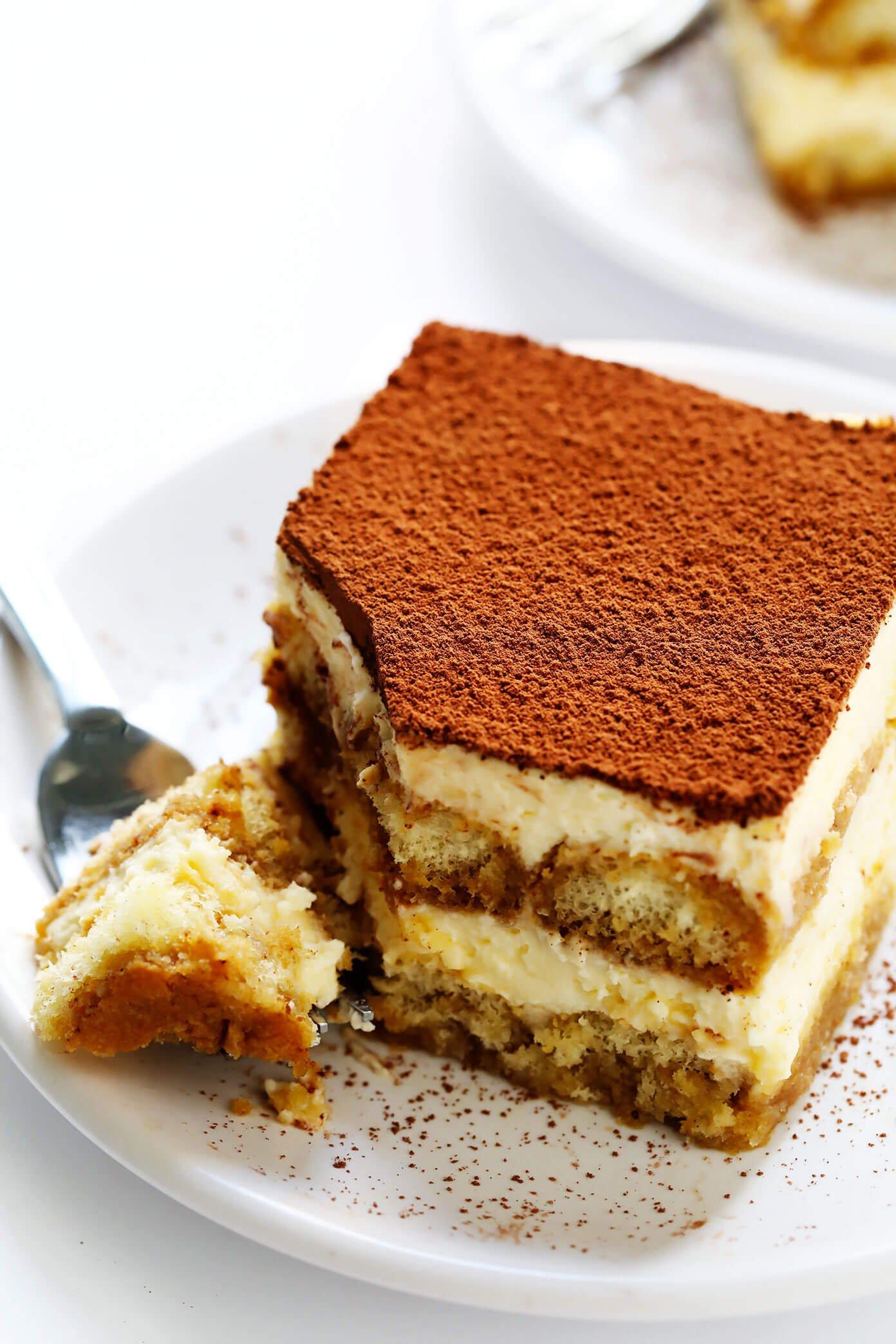 Italian tiramisu on serving plate