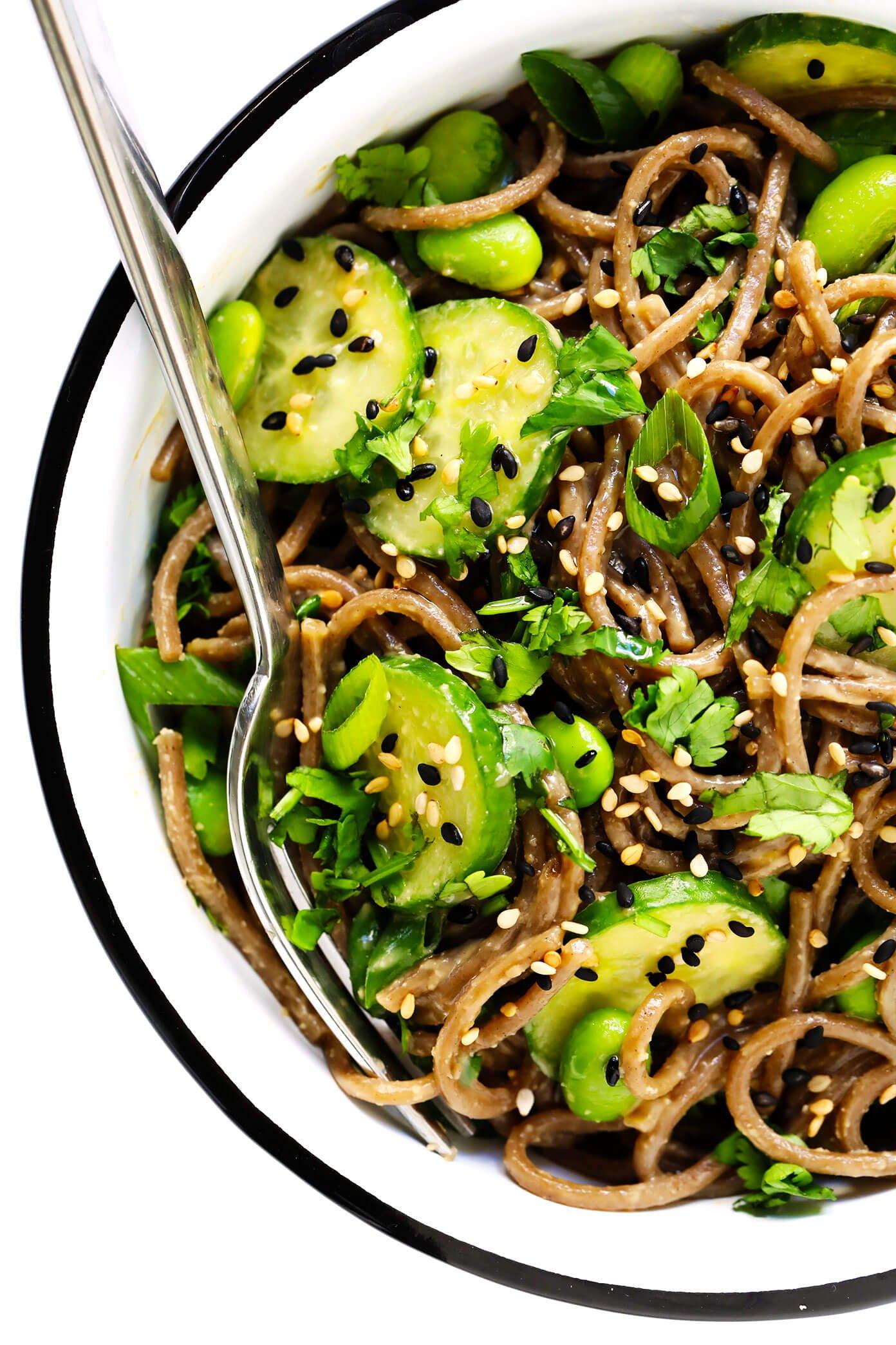 Peanut Soba Noodles Closeup