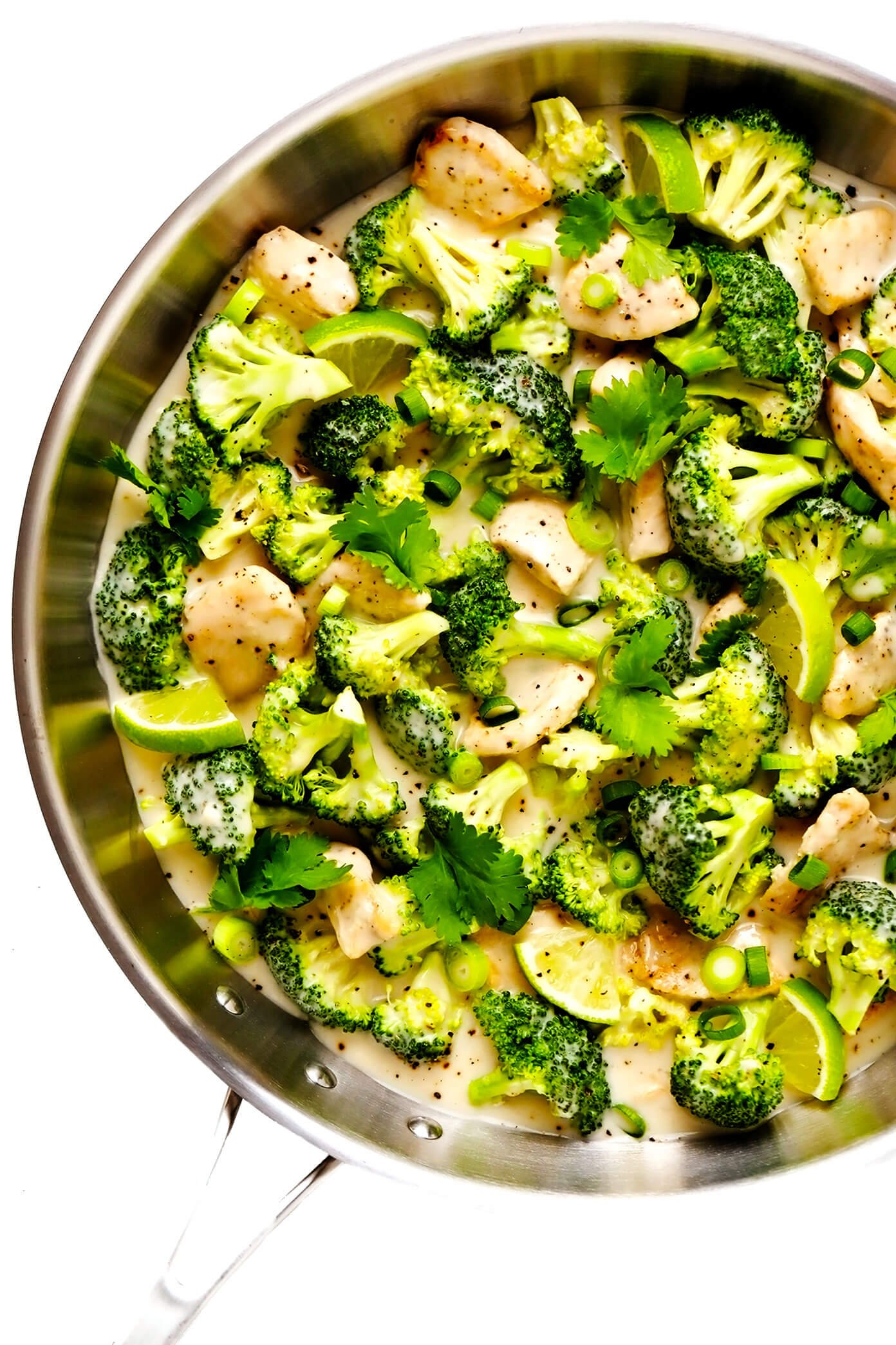 Chicken and Broccoli with Coconut Lime Sauce in Saute Pan