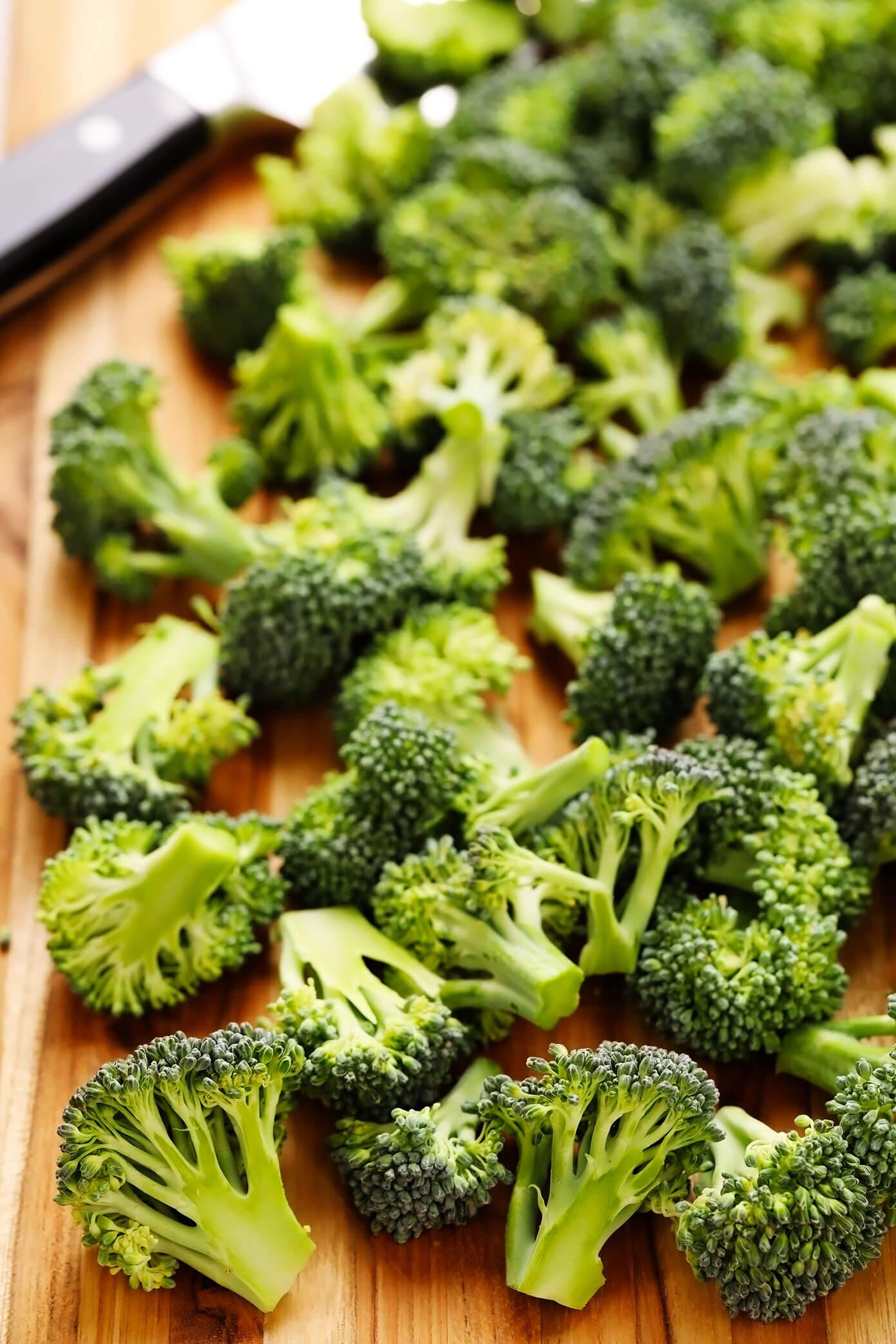 Floretes de brócolis picados