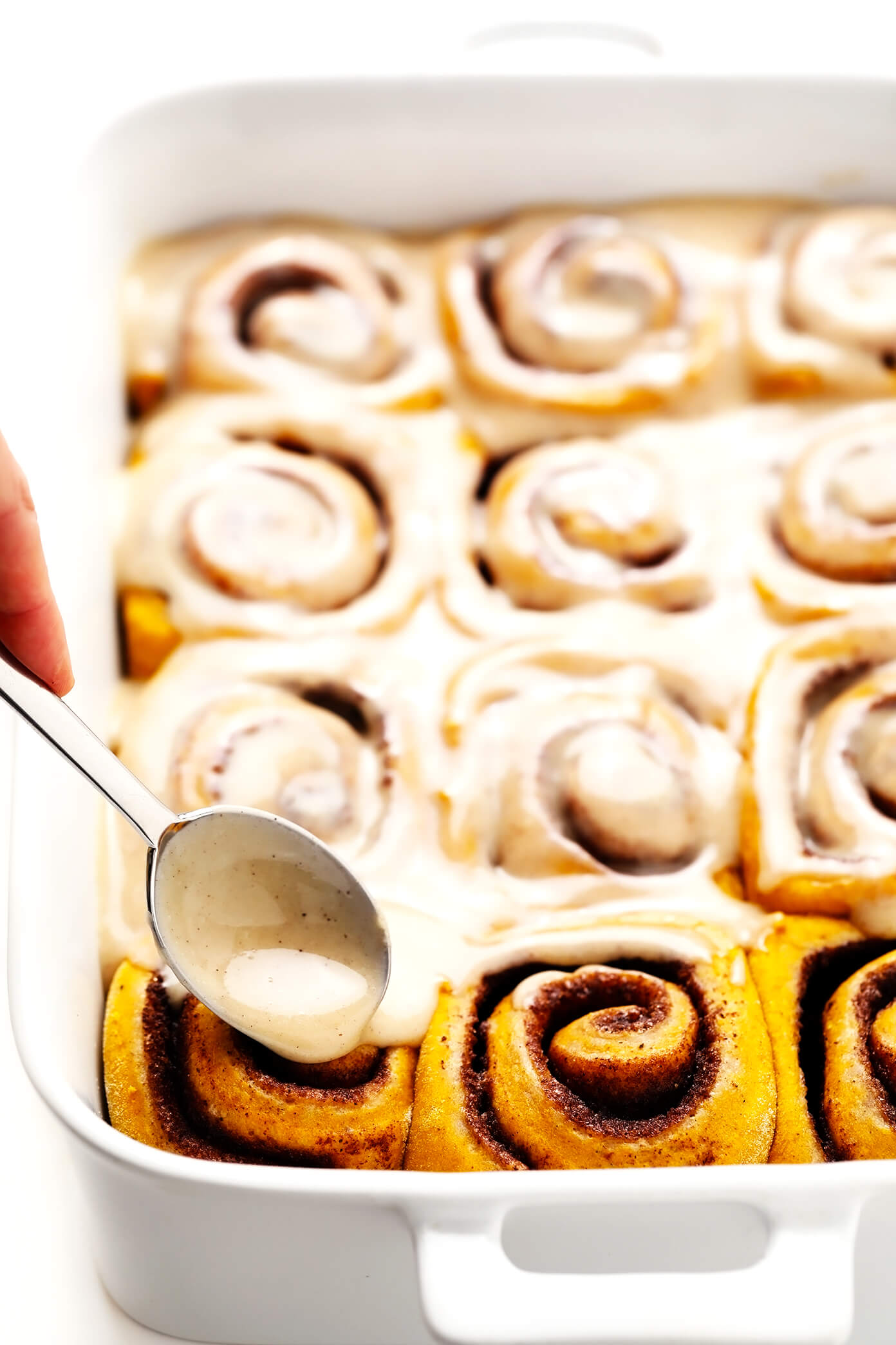 Pumpkin Cinnamon Rolls with Maple Cream Cheese Frosting Drizzle