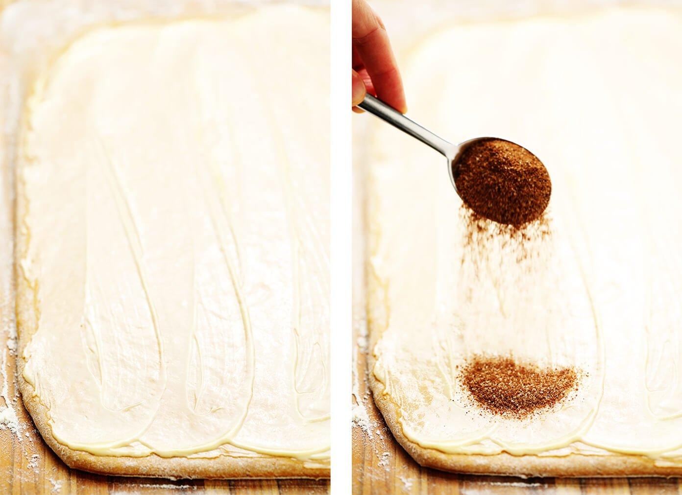 Spreading the Butter Filling on Pumpkin Cinnamon Rolls