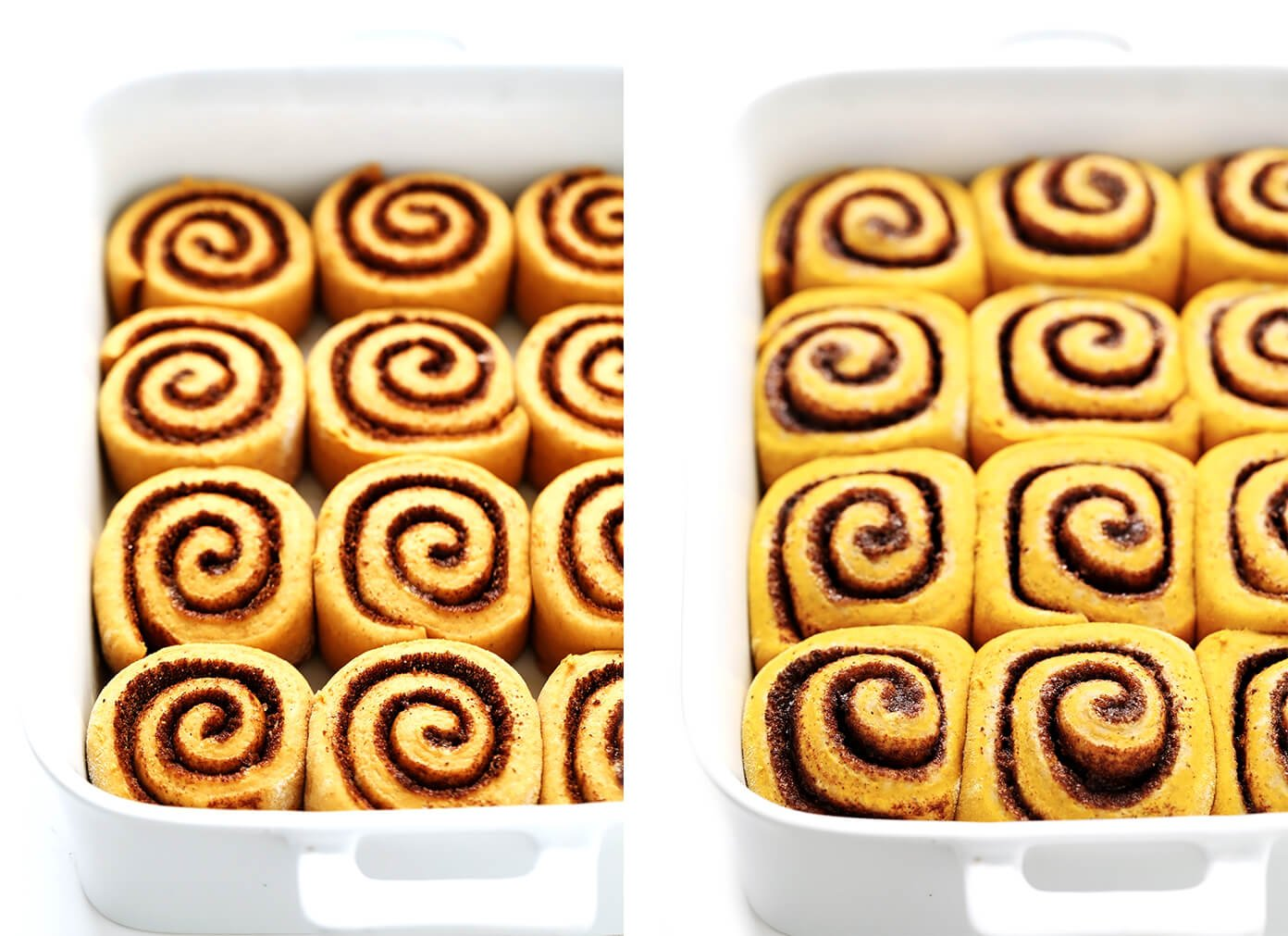 Pumpkin Cinnamon Roll Dough Before and After Baking