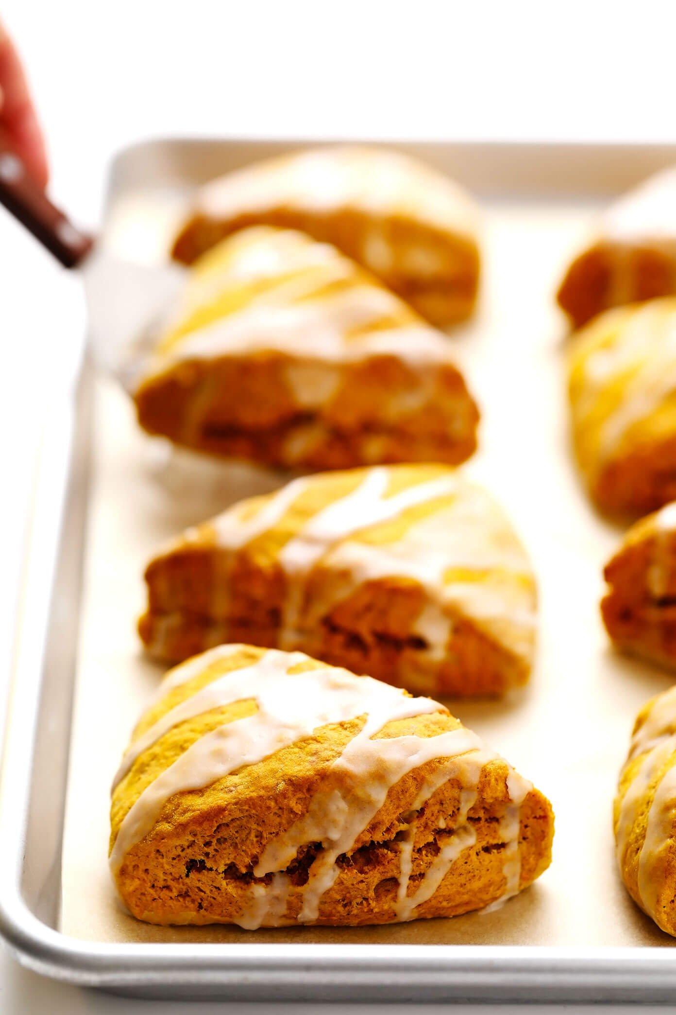 Pumpkin Scones with Vanilla Glaze on Baking Sheet