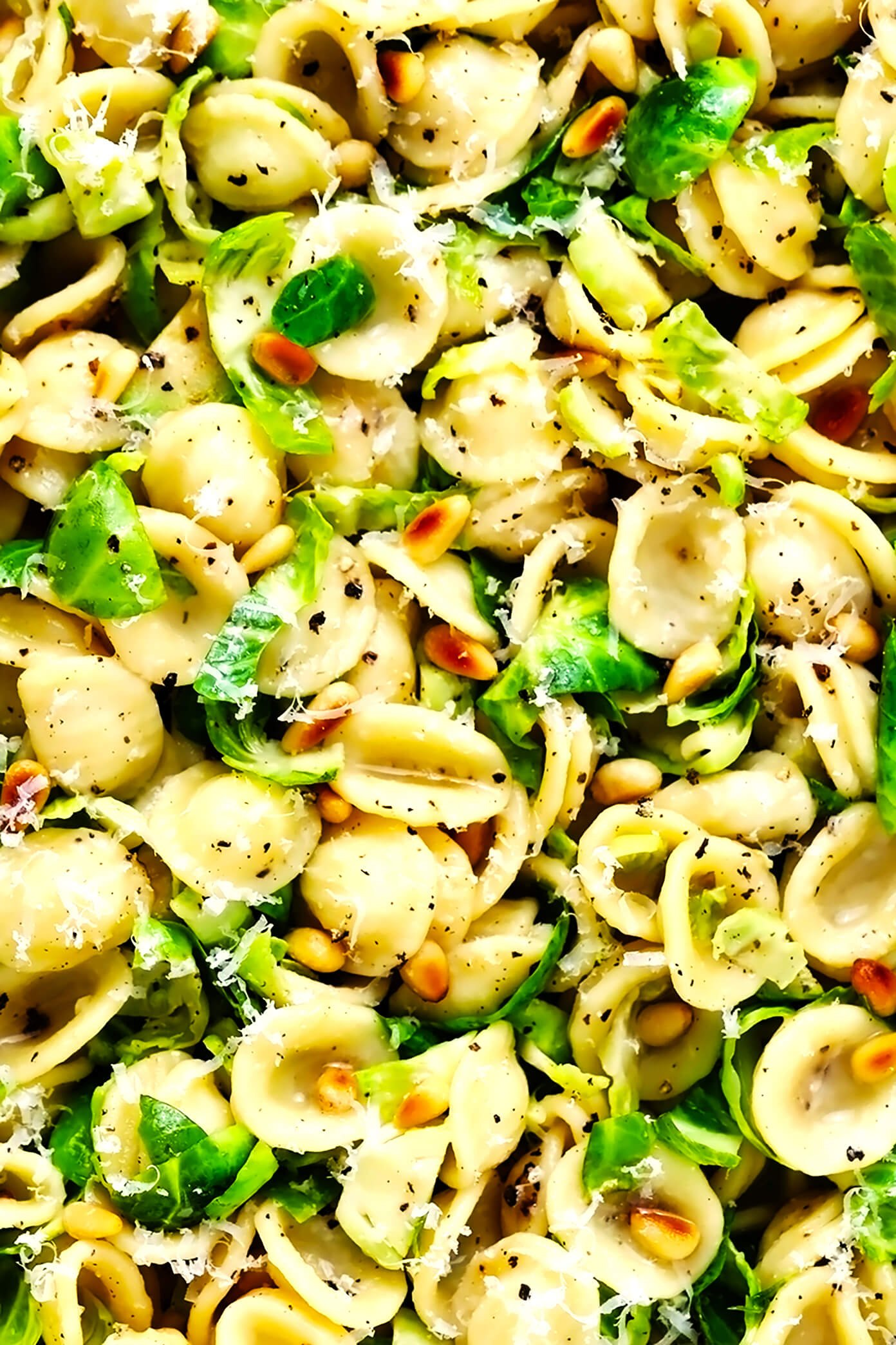 Brussels Sprouts Pasta with Pine Nuts Closeup